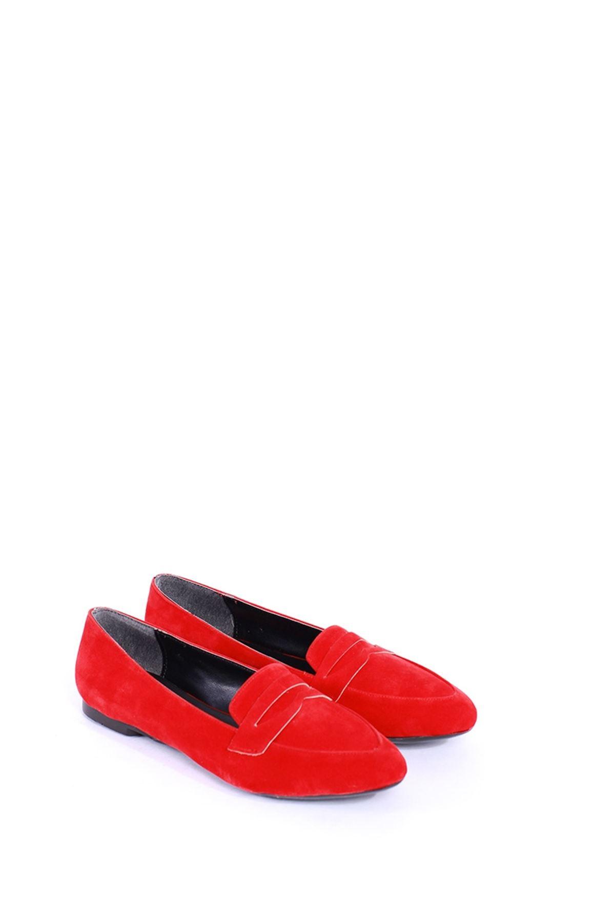 Bella Kırmızı Süet Rahat Bayan Ayakkabı