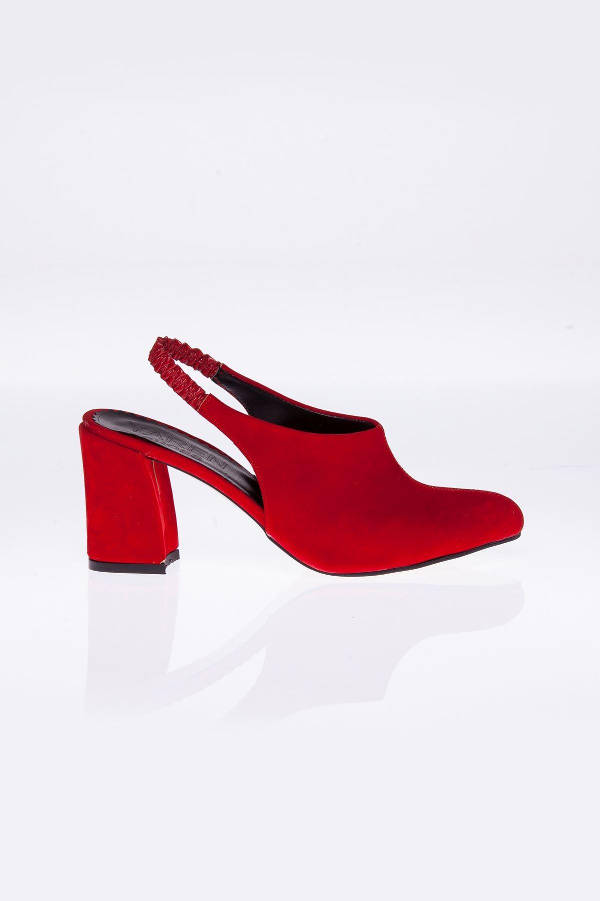 Bonita Kırmızı Süet Topuklu Kadın Ayakkabı
