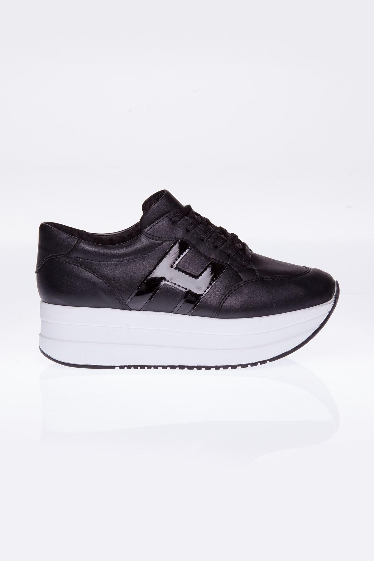 Oneo Ortapedik Yüksek Platform Siyah Bayan Spor Ayakkabı