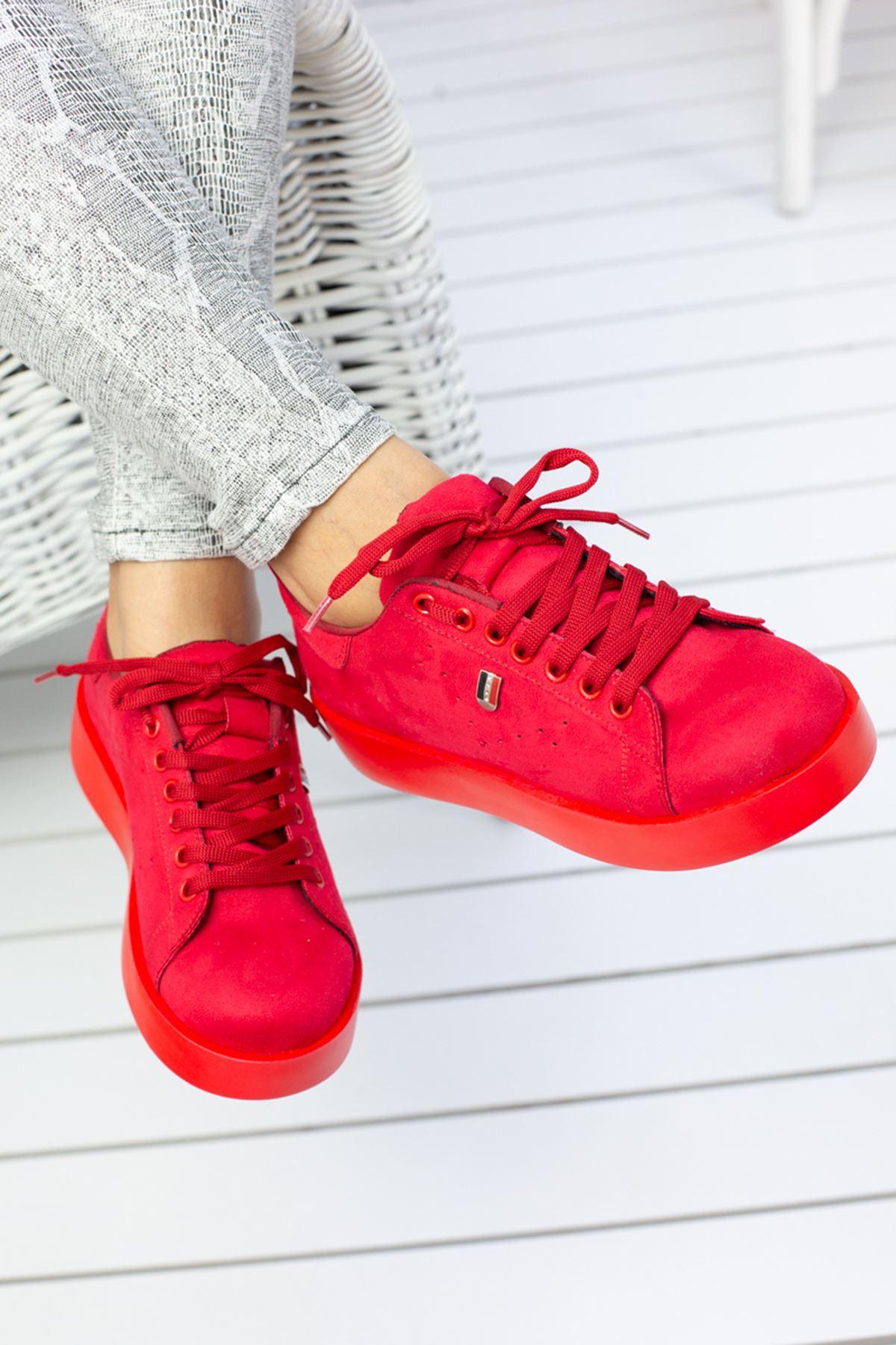 Luis Kırmızı Süet Ortapedik Bayan Spor Ayakkabı