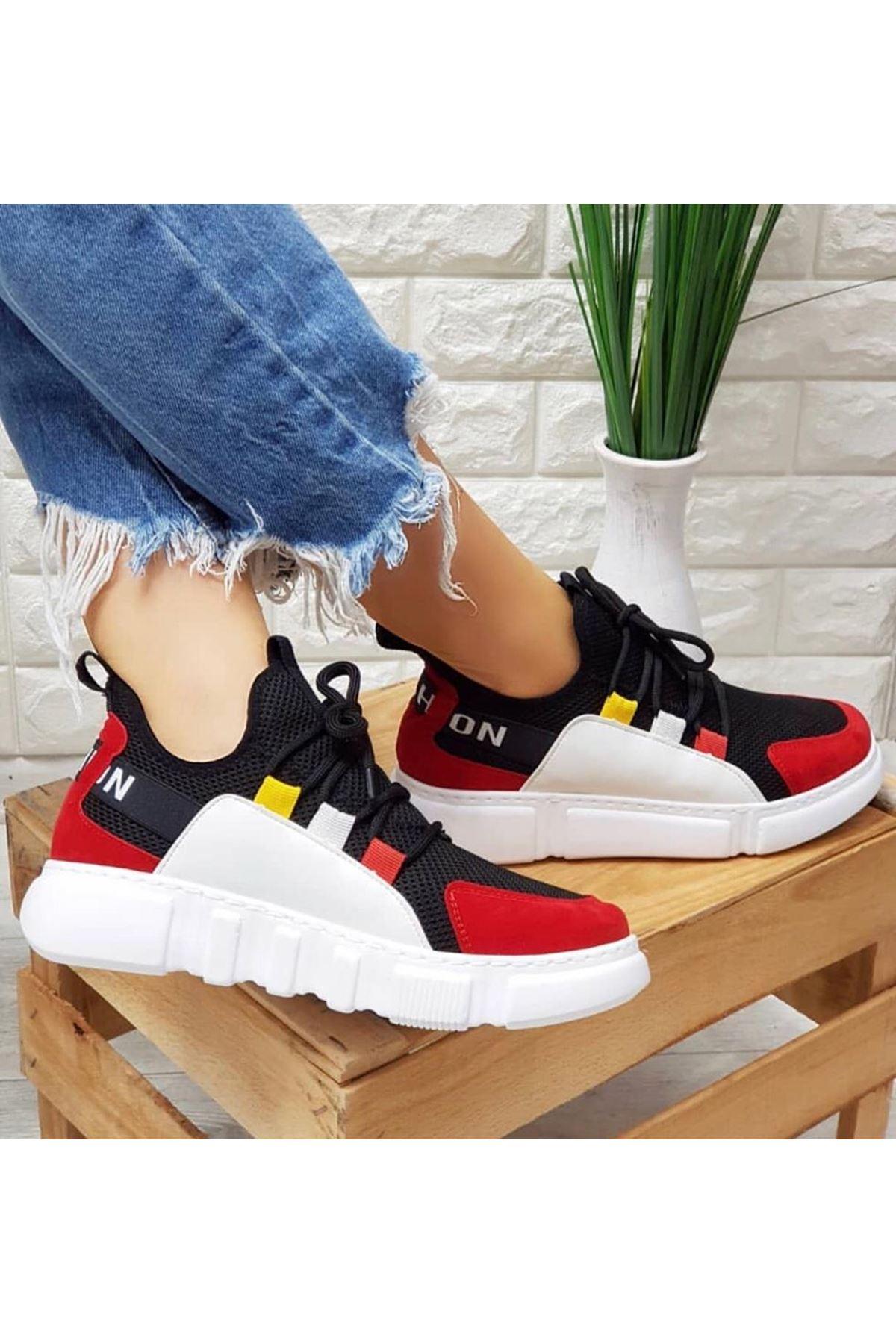 Weşşo Siyah Kırmızı Bayan Spor Ayakkabı