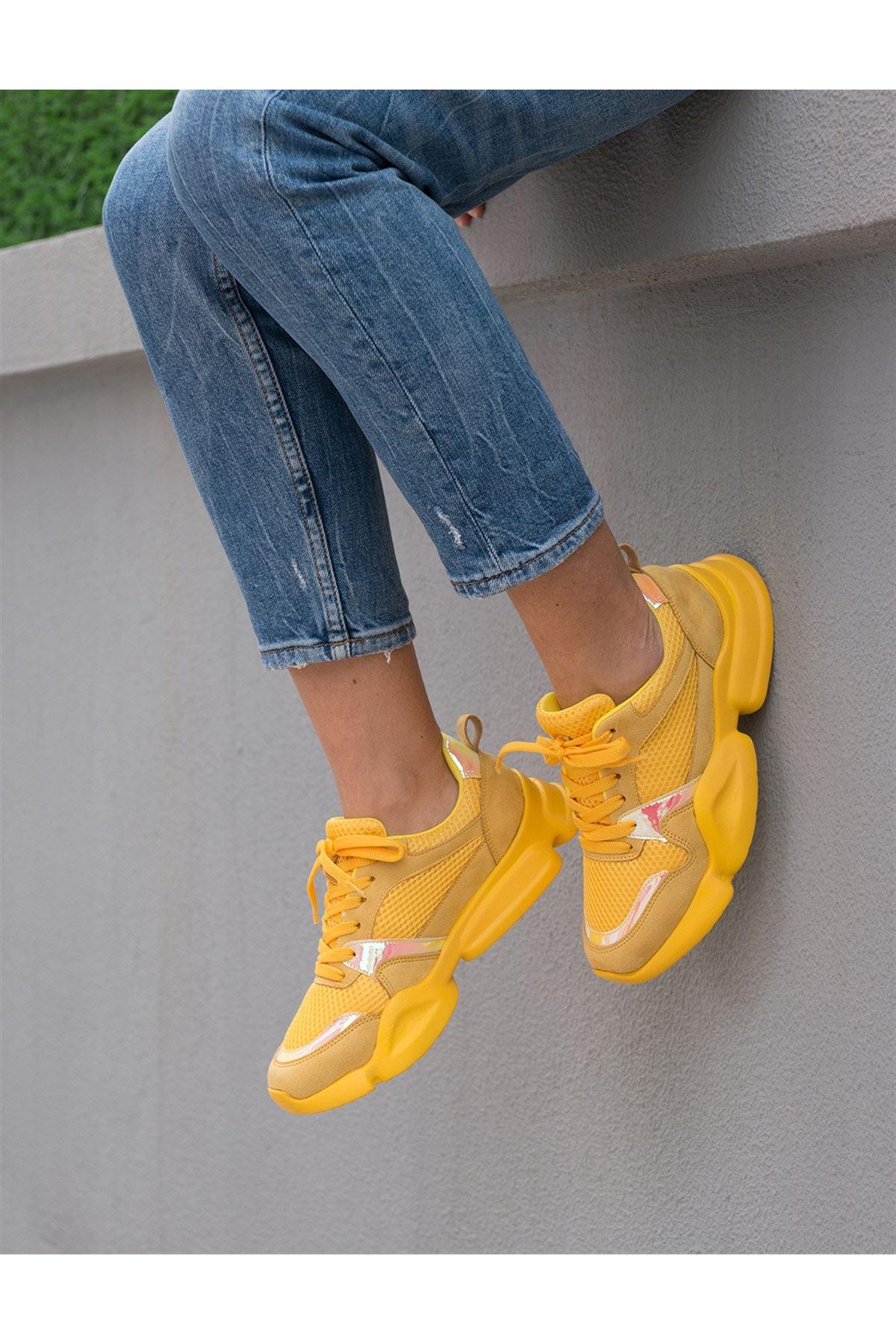 Horsey Sarı Lame İthal Süet Bayan Spor Ayakkabı