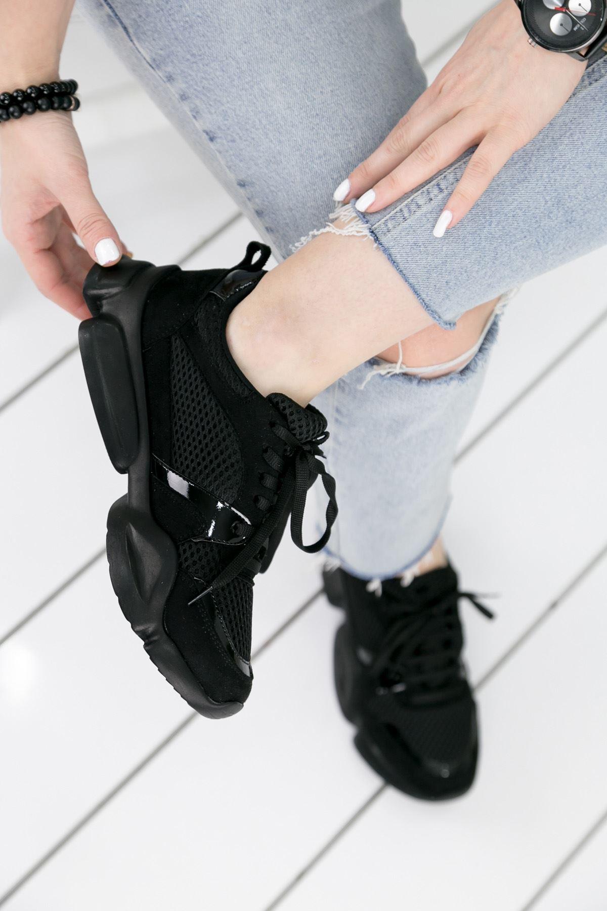 Horsey Siyah Lame İthal Süet Bayan Spor Ayakkabı