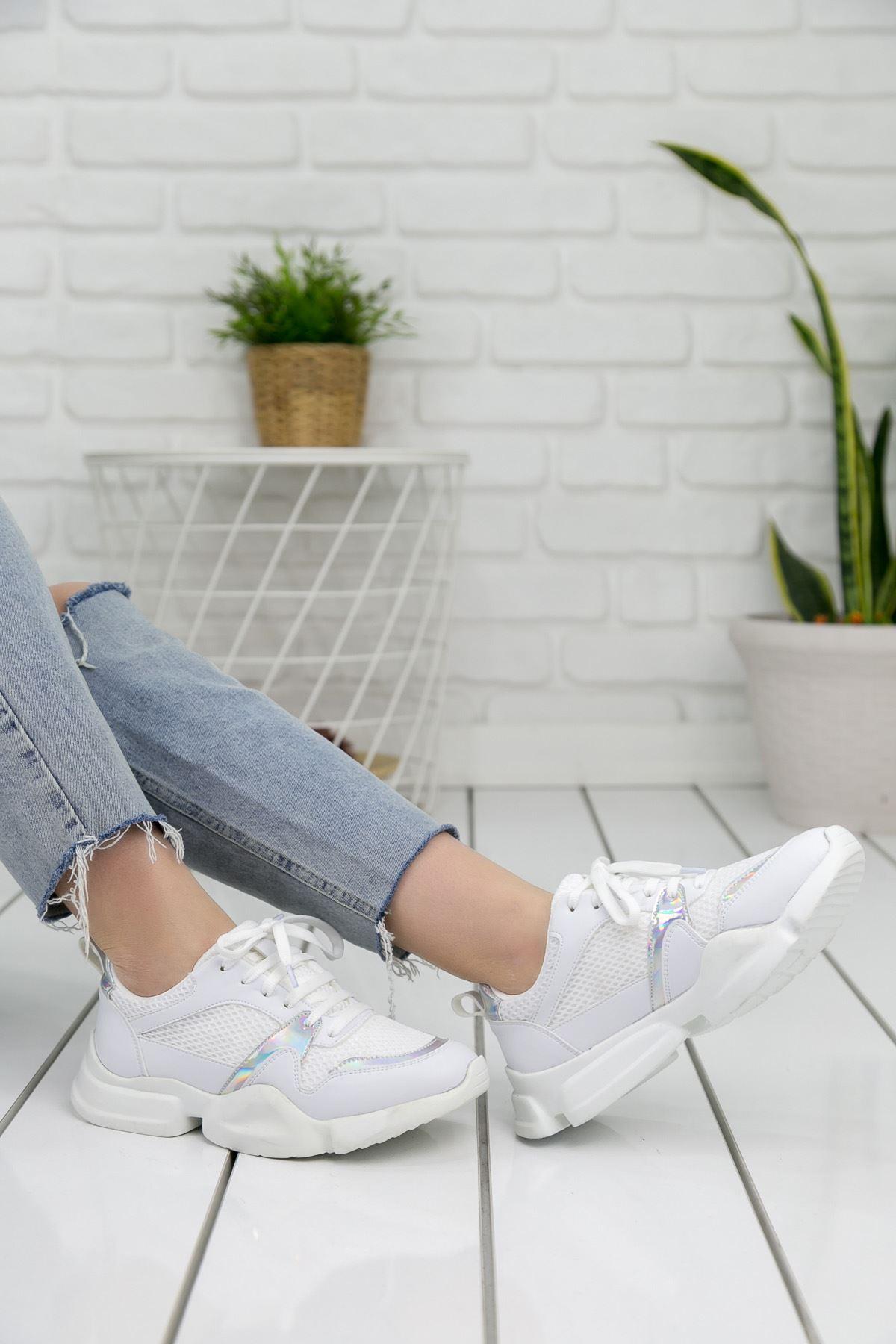 Horsey Beyaz Lame İthal Süet Bayan Spor Ayakkabı