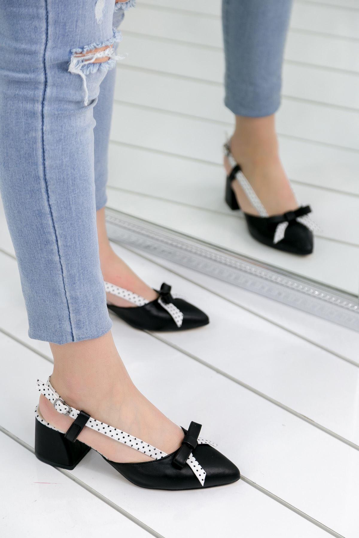 Leylan Siyah Topuklu Bayan Ayakkabı