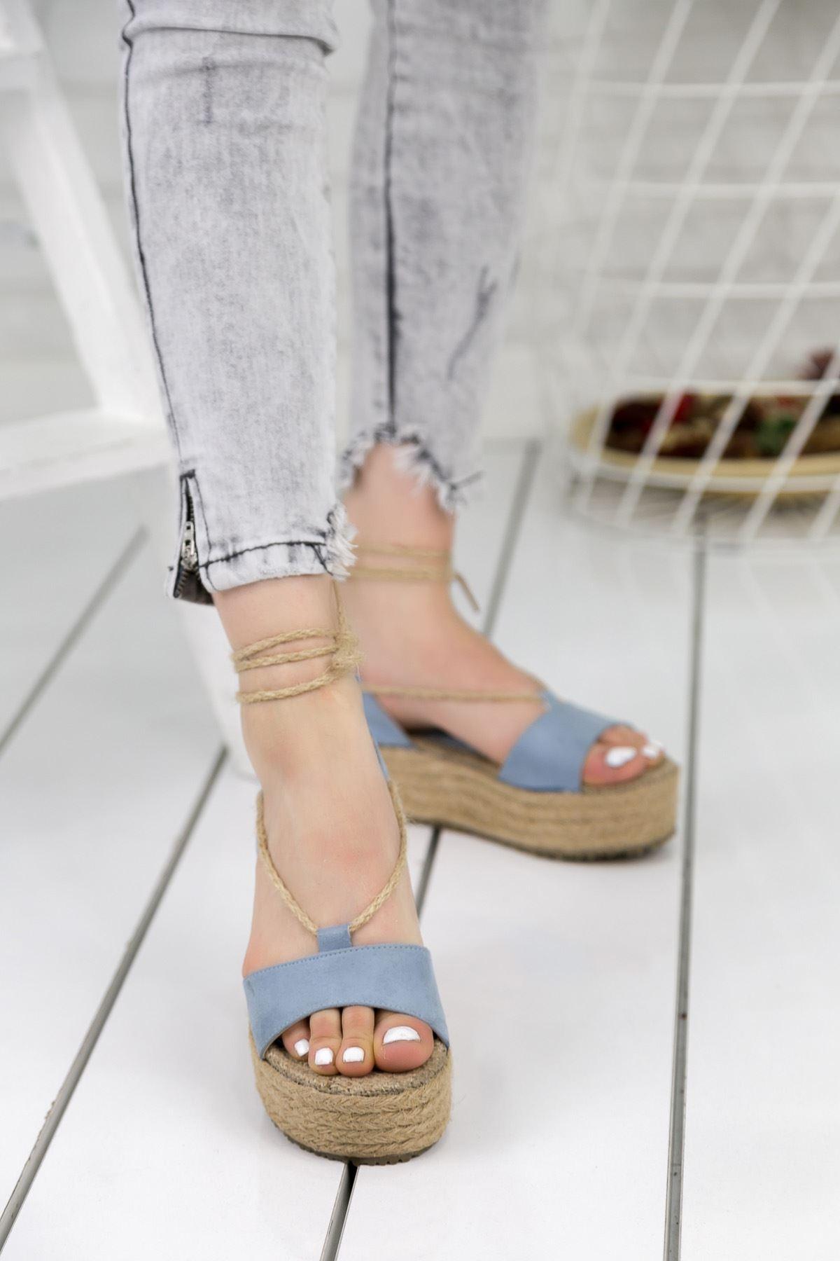 Tania Bebe Mavi Bayan Sandalet