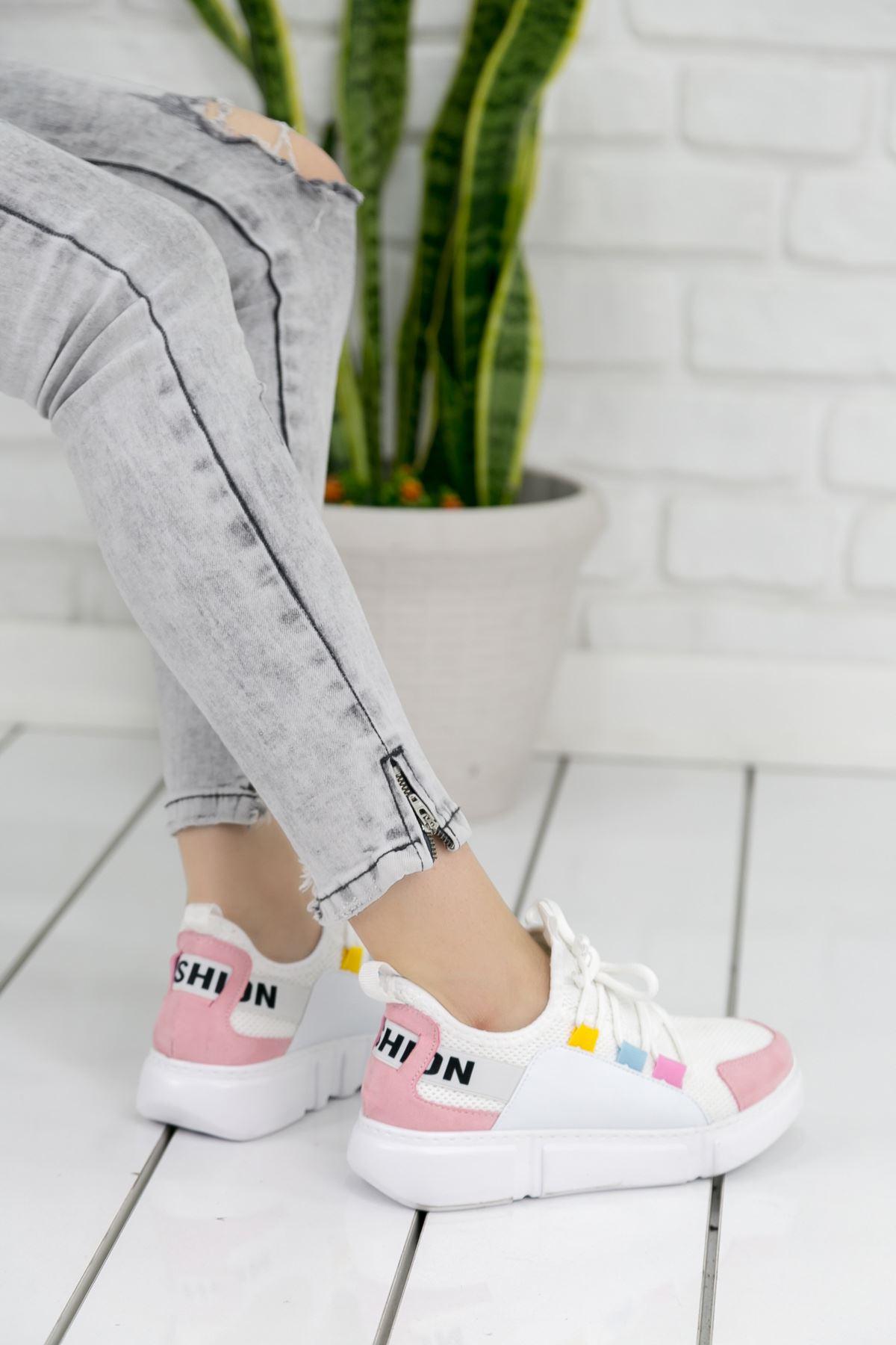 Weşşo Pudra Beyaz Bayan Spor Ayakkabı