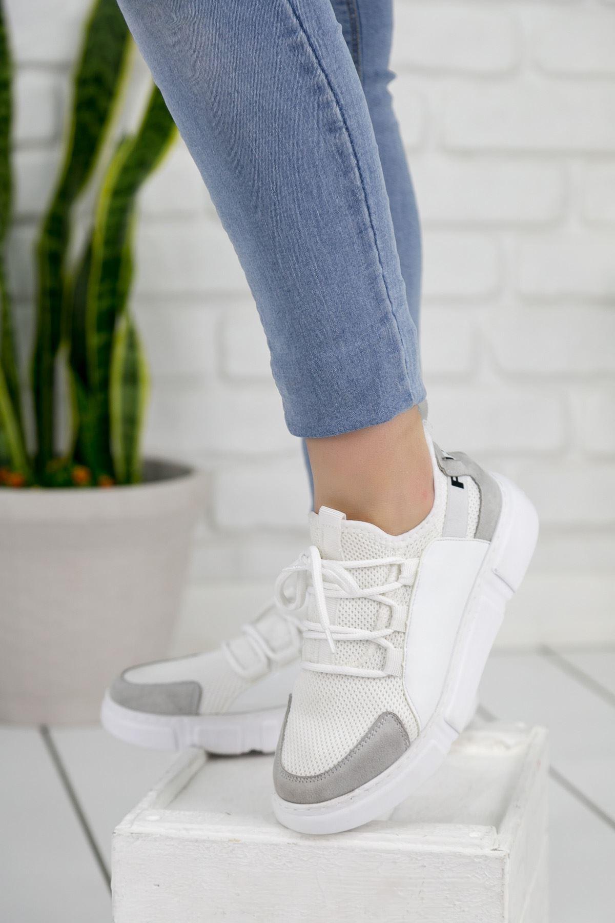 Weşşo Gri Beyaz Bayan Spor Ayakkabı
