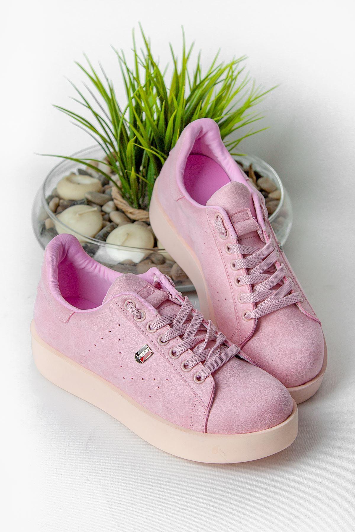 Luis Pembe Süet Ortapedik Bayan Spor Ayakkabı