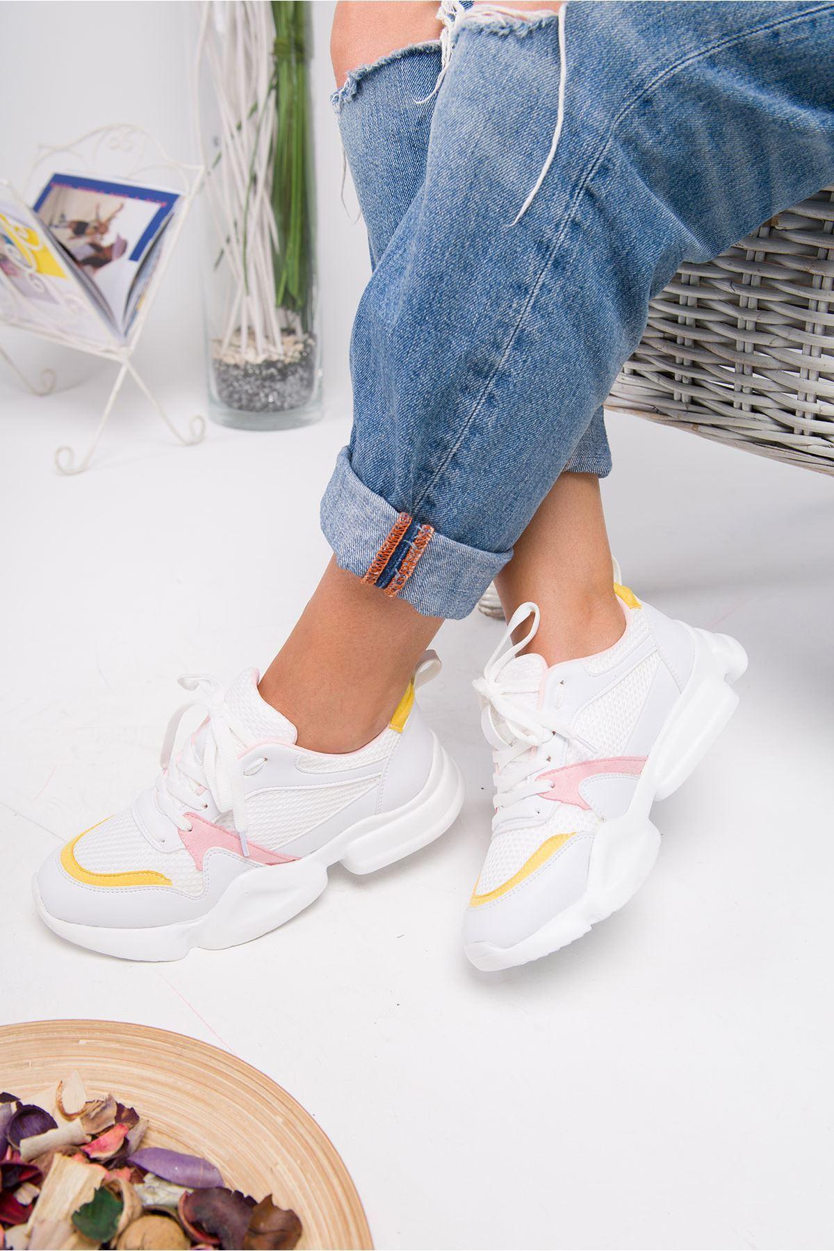 Horsey Beyaz-Pembe Lame İthal Süet Bayan Spor Ayakkabı