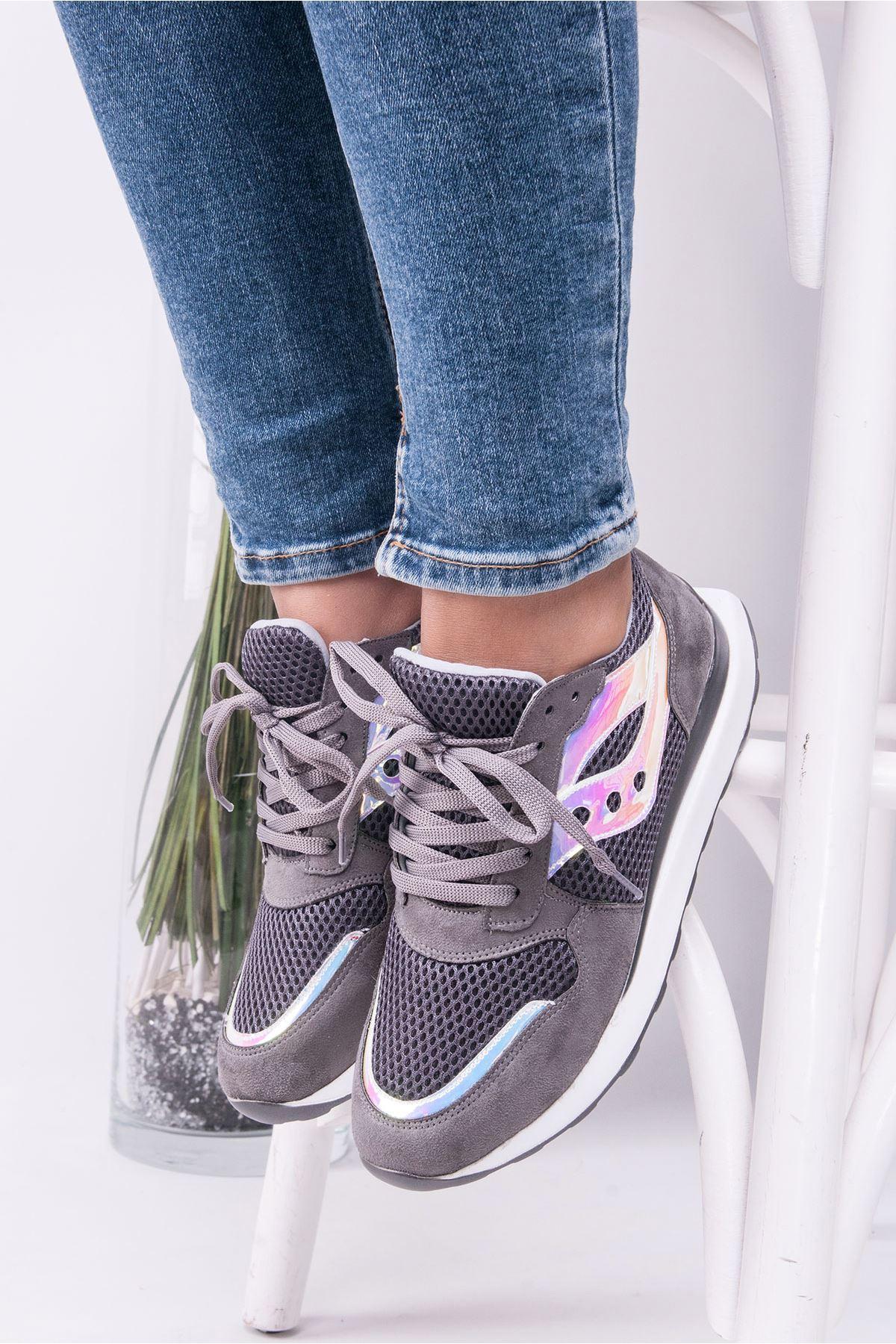 Andiyo Füme Hologram Detaylı Ortapedik Bayan Spor Ayakkabı