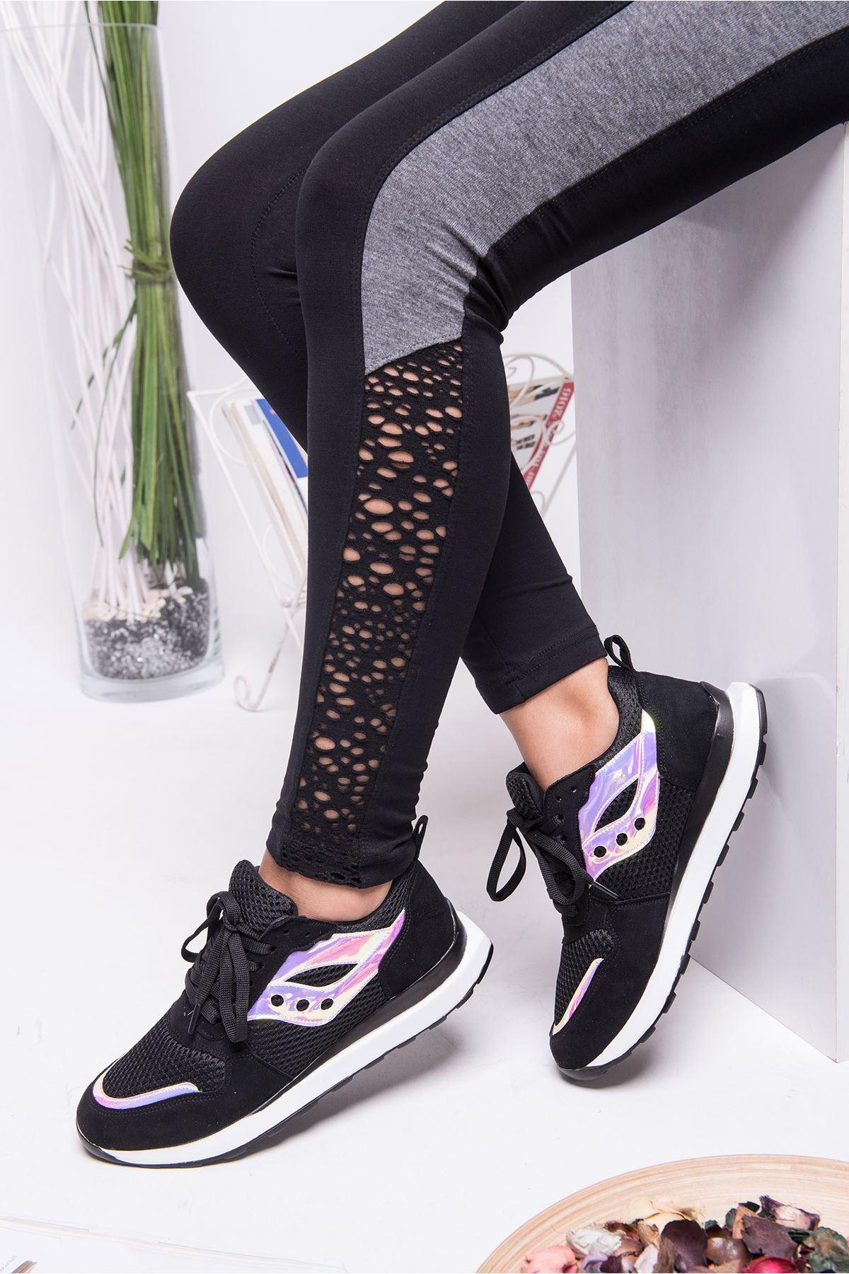 Andiyo Siyah Hologram Detaylı Ortapedik Bayan Spor Ayakkabı