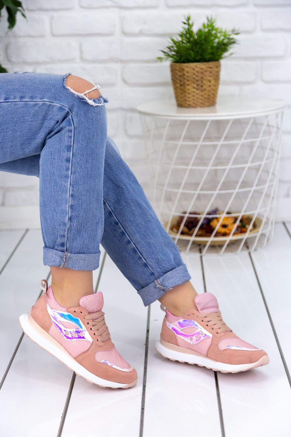 Andiyo Pudra Hologram Detaylı Ortapedik Bayan Spor Ayakkabı