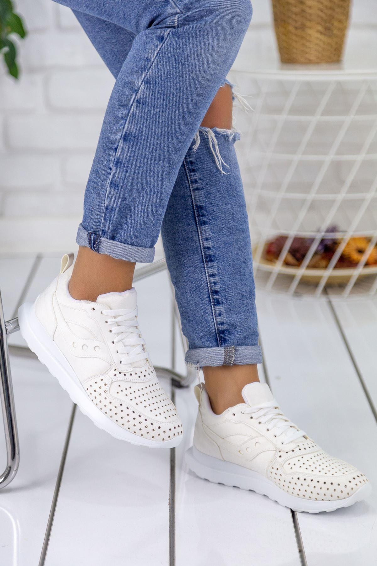 Disa Beyaz Ortapedik Bayan Spor Ayakkabı