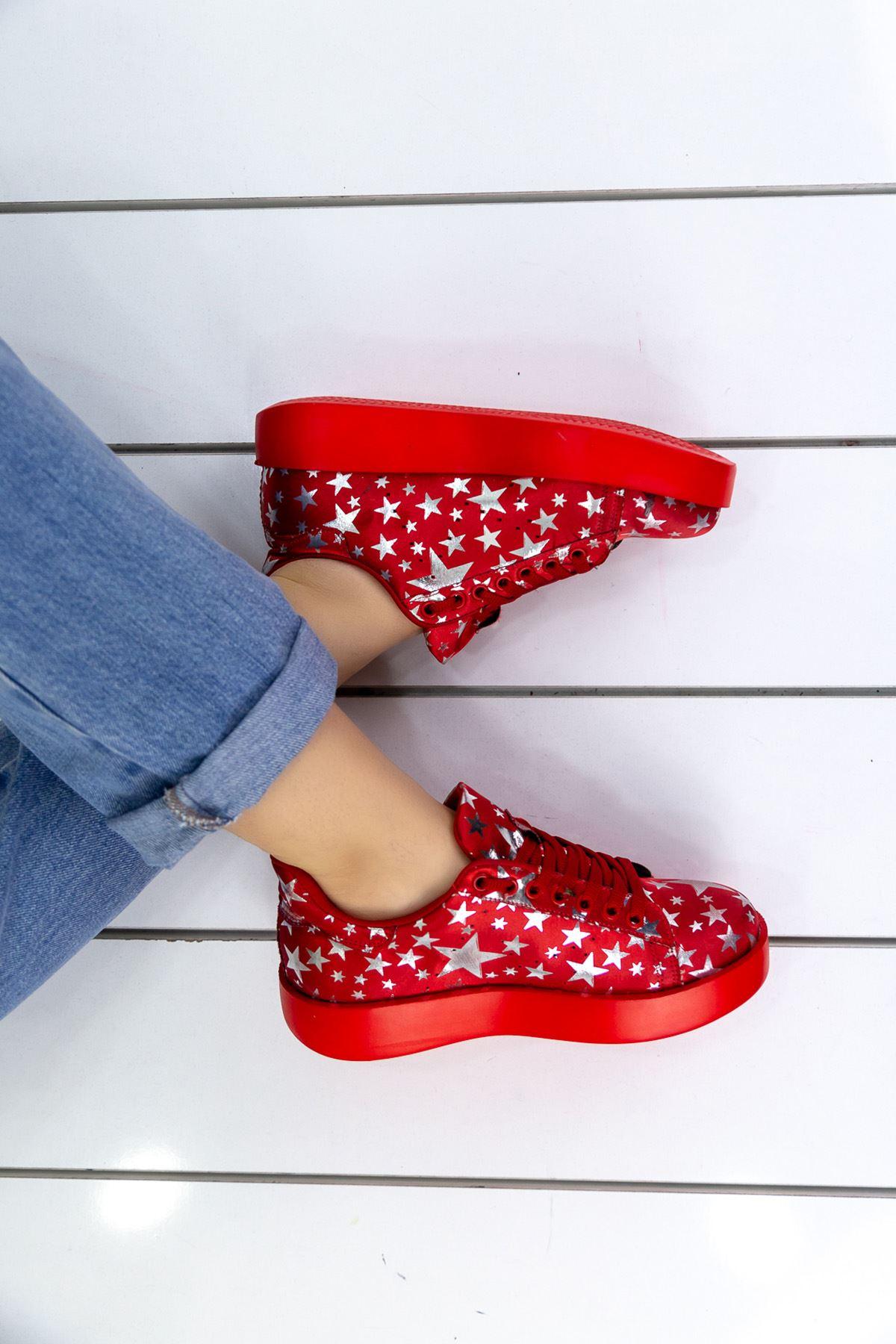Luis Kırmızı Yıldız Desenli Ortapedik Bayan Spor Ayakkabı