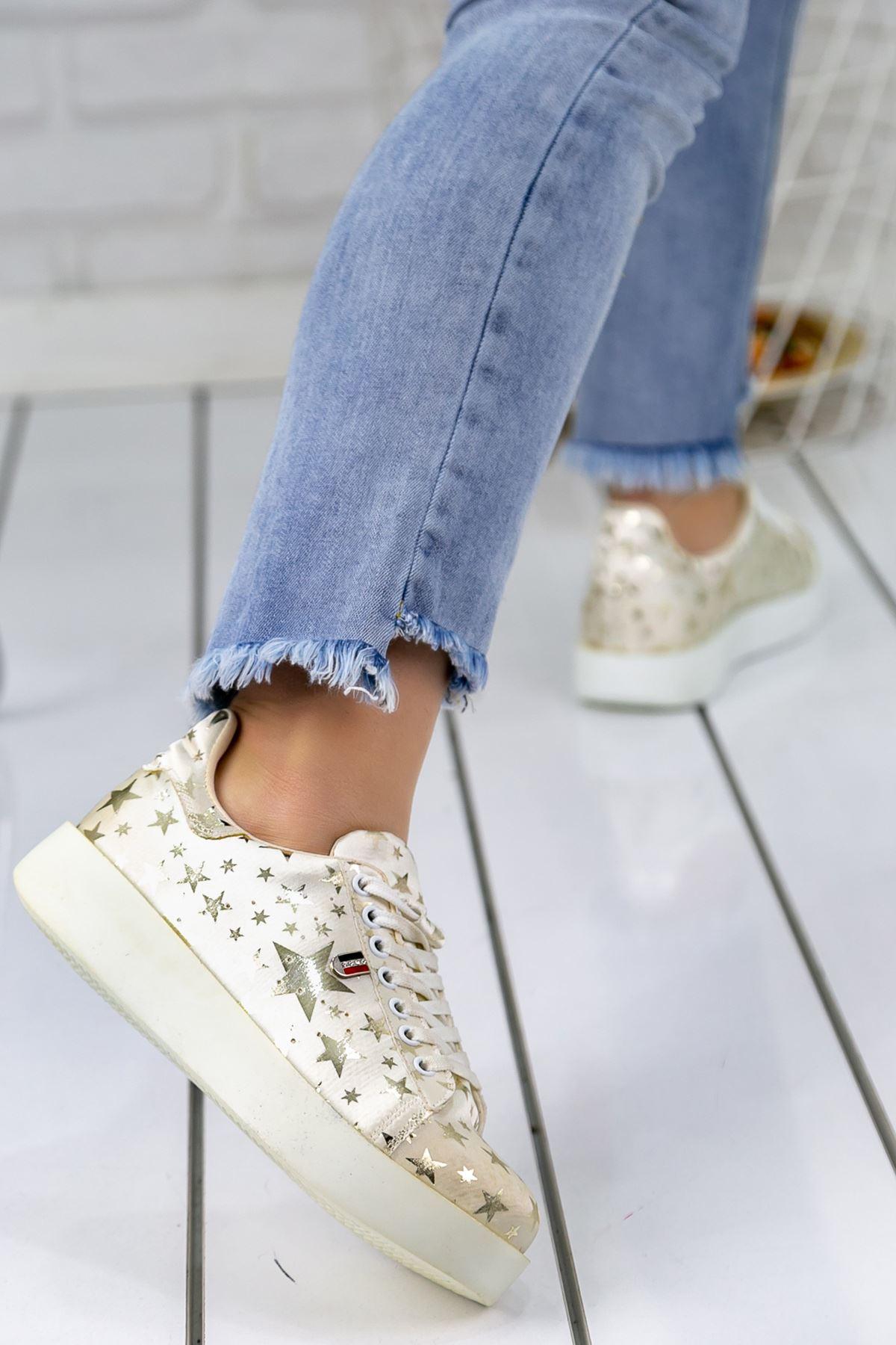 Luis Beyaz Yıldız Desenli Ortapedik Bayan Spor Ayakkabı