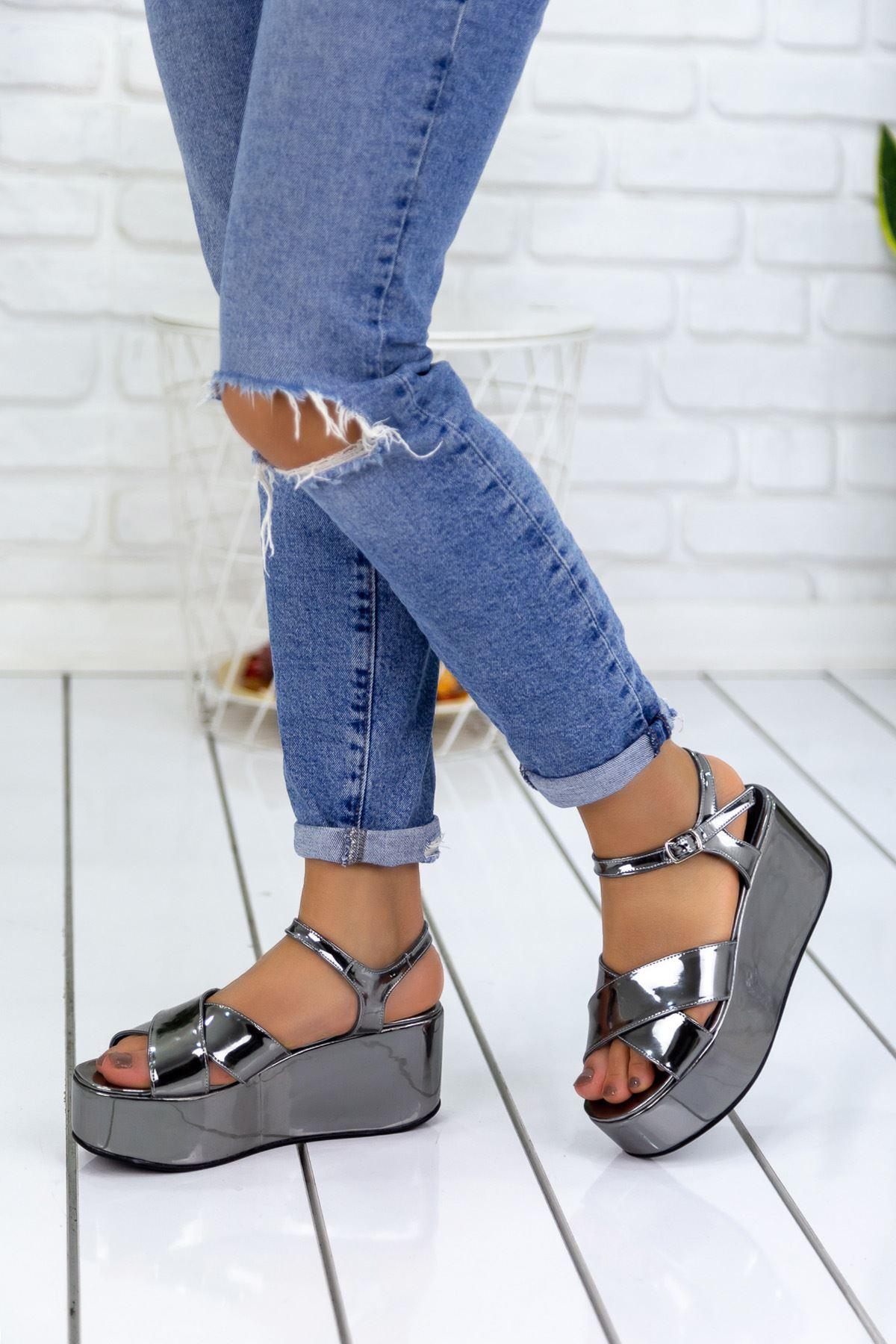 Norte Gümüş Hakiki Deri Platform Bayan Ayakkabı