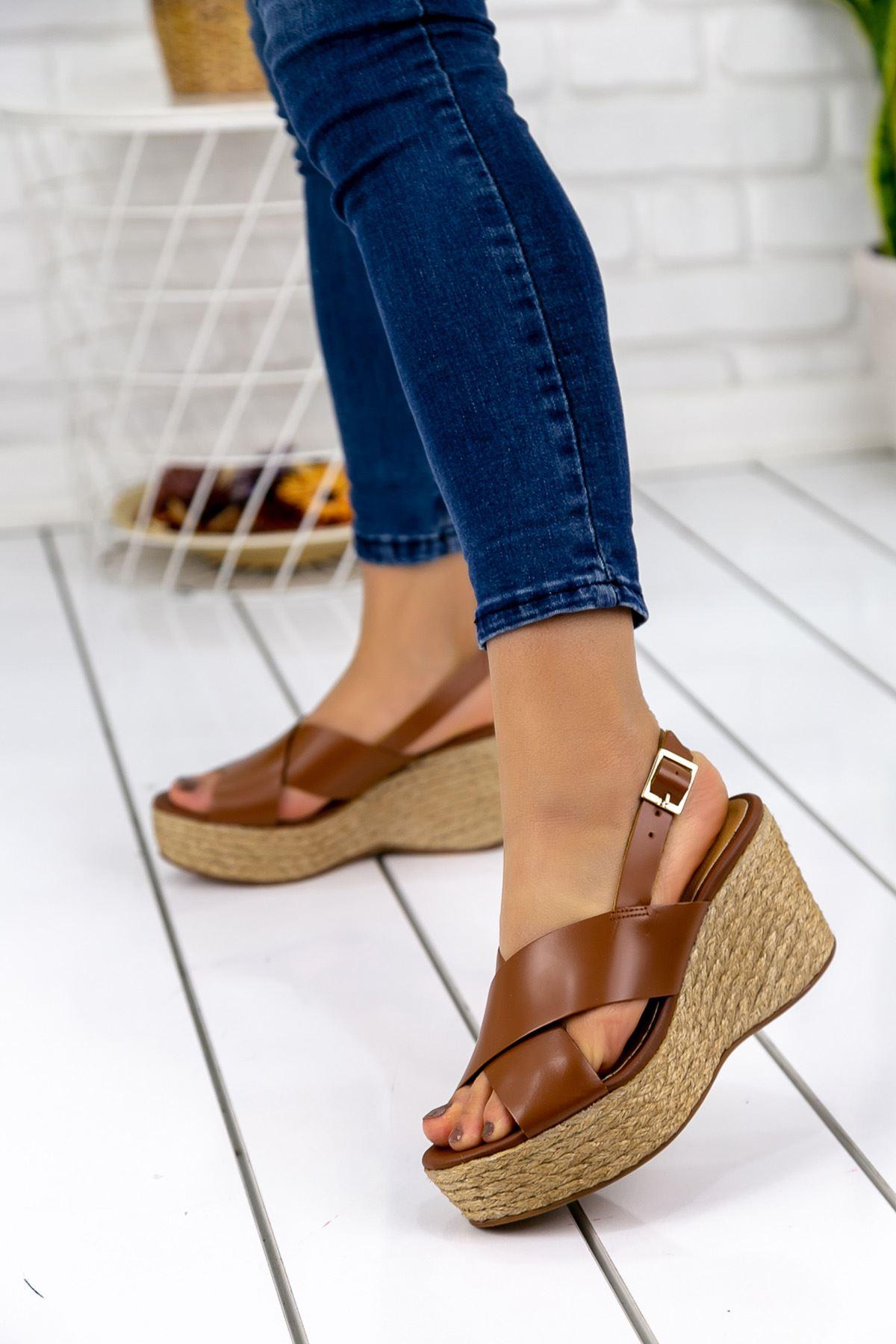 Nolly Taba Hasır Tabanlı Hakiki Deri Platform Bayan Ayakkabı