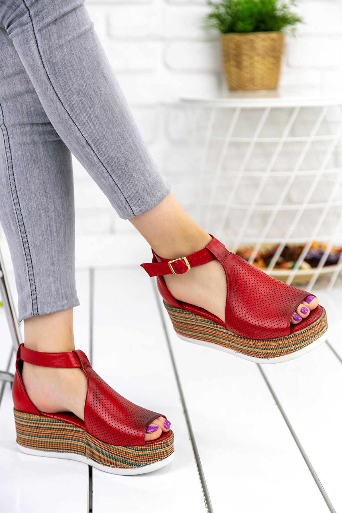 Keysi Kırmızı Hakiki Deri Ortapedik Bayan Platform Ayakkabı
