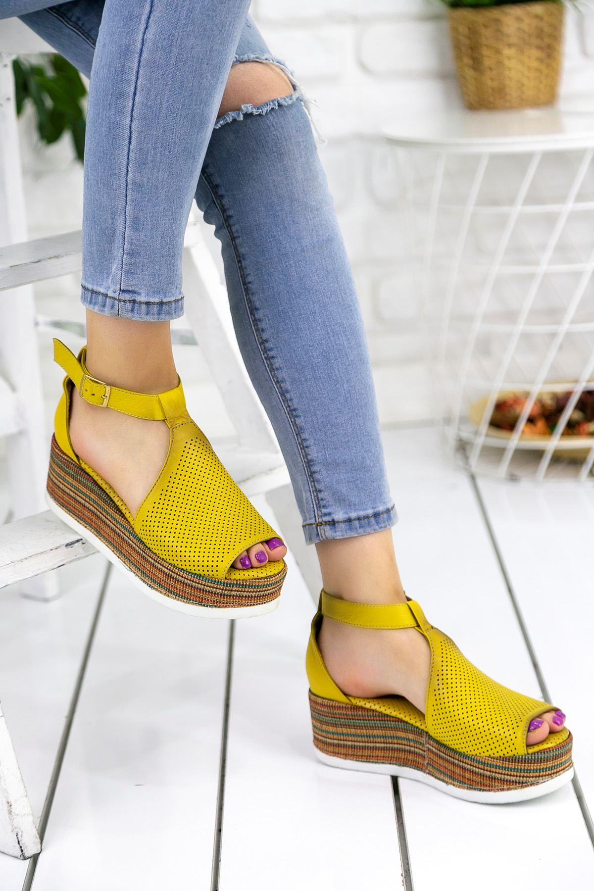 Keysi Sarı Hakiki Deri Ortapedik Bayan Platform Ayakkabı
