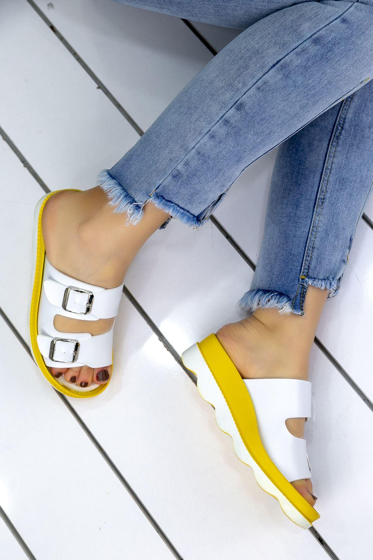Lamis Beyaz Sarı Ortapedik Bayan Terlik