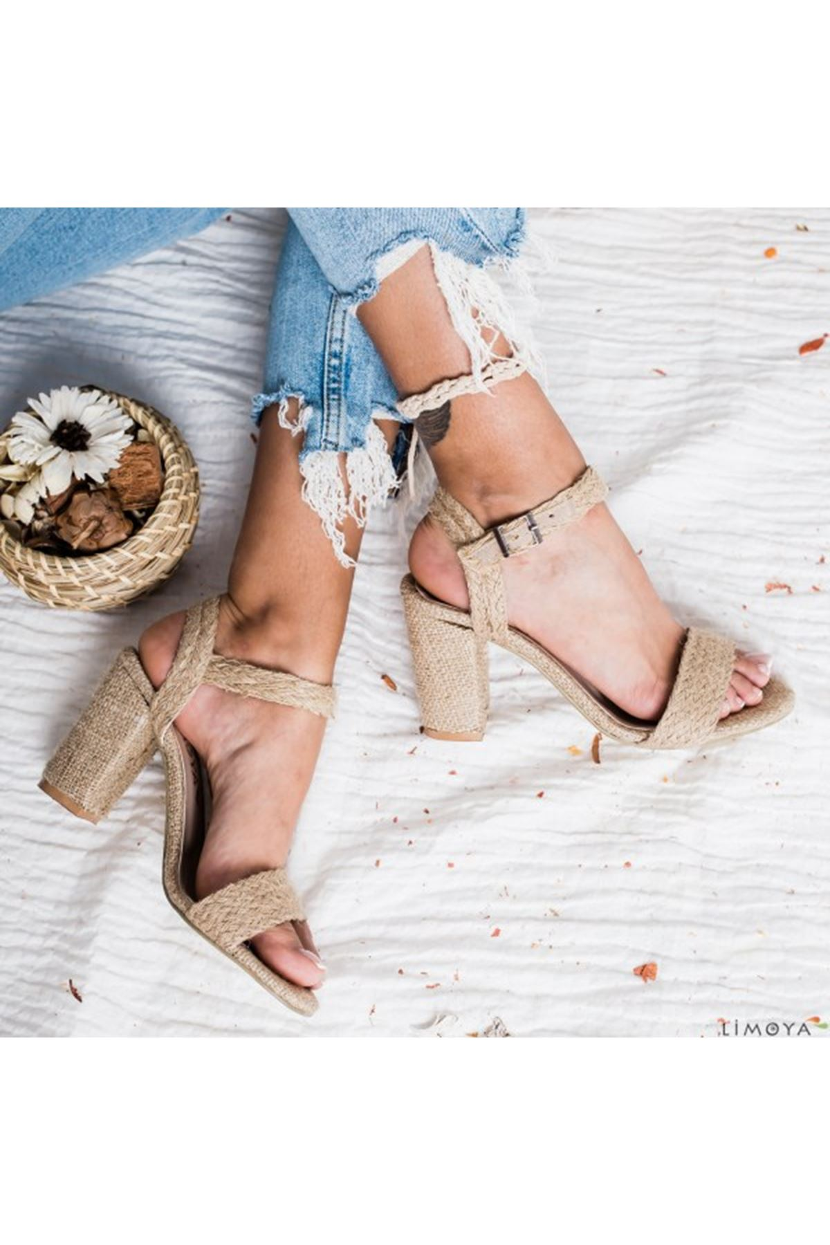 Tura Keten Topuklu Bayan Ayakkabı