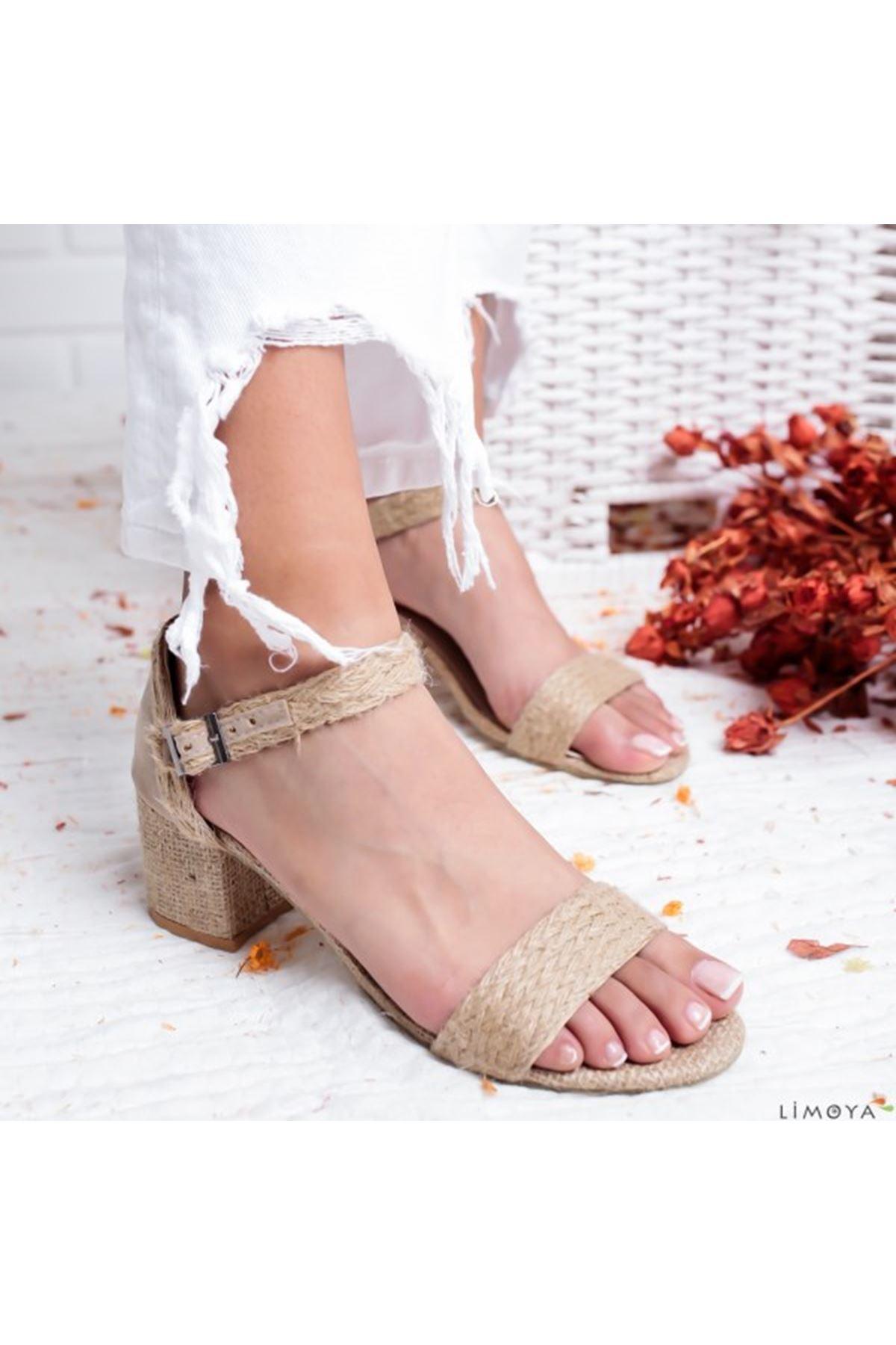 Serace Keten Topuklu Bayan Ayakkabı