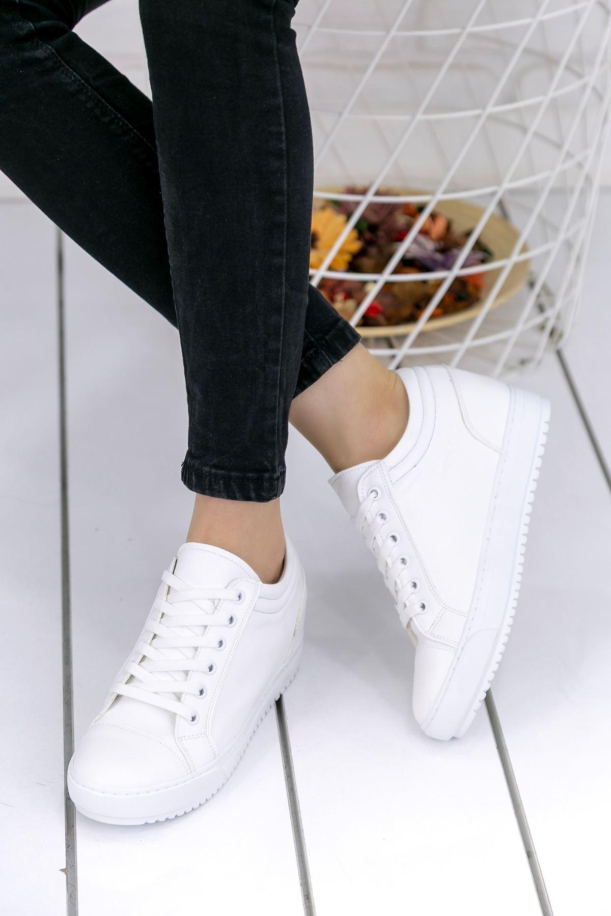 Adonia Beyaz Gizli Topuklu Ortopedik Bayan Spor Ayakkabı