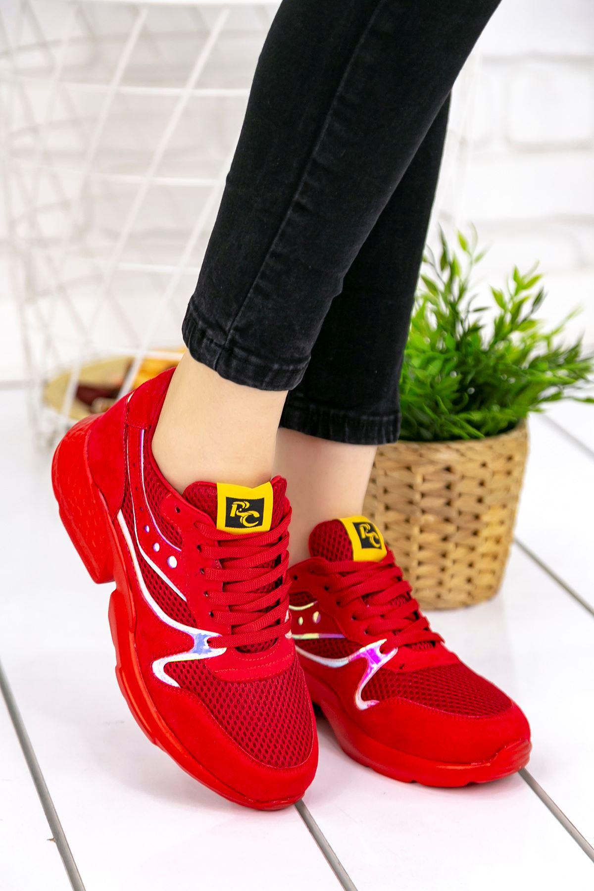 Marzo Kırmızı Lame İthal Süet Bayan Spor Ayakkabı