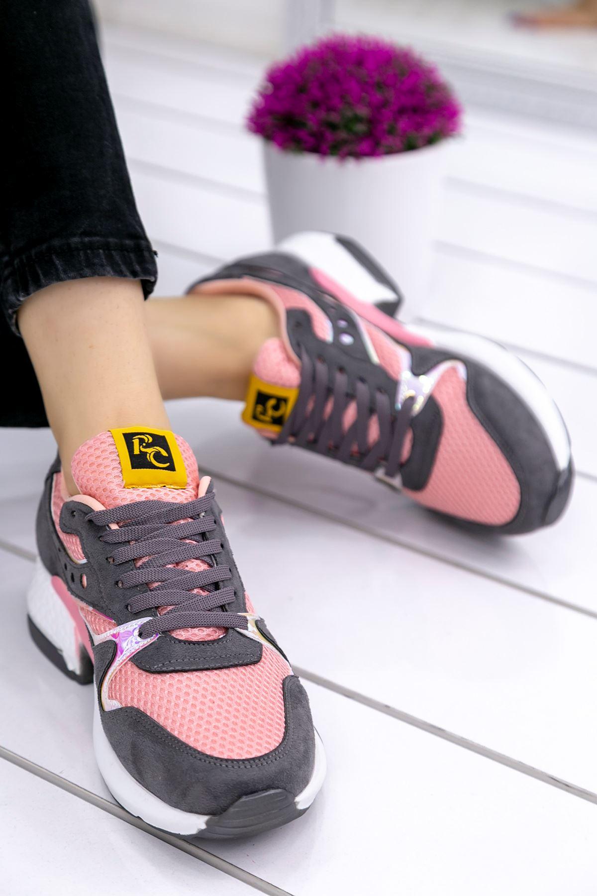 Marzo Gri Pembe Lame İthal Süet Bayan Spor Ayakkabı