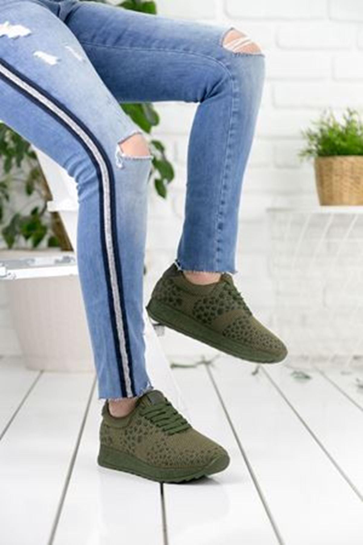 Fancy Haki Ortapedik Bayan Spor Ayakkabı