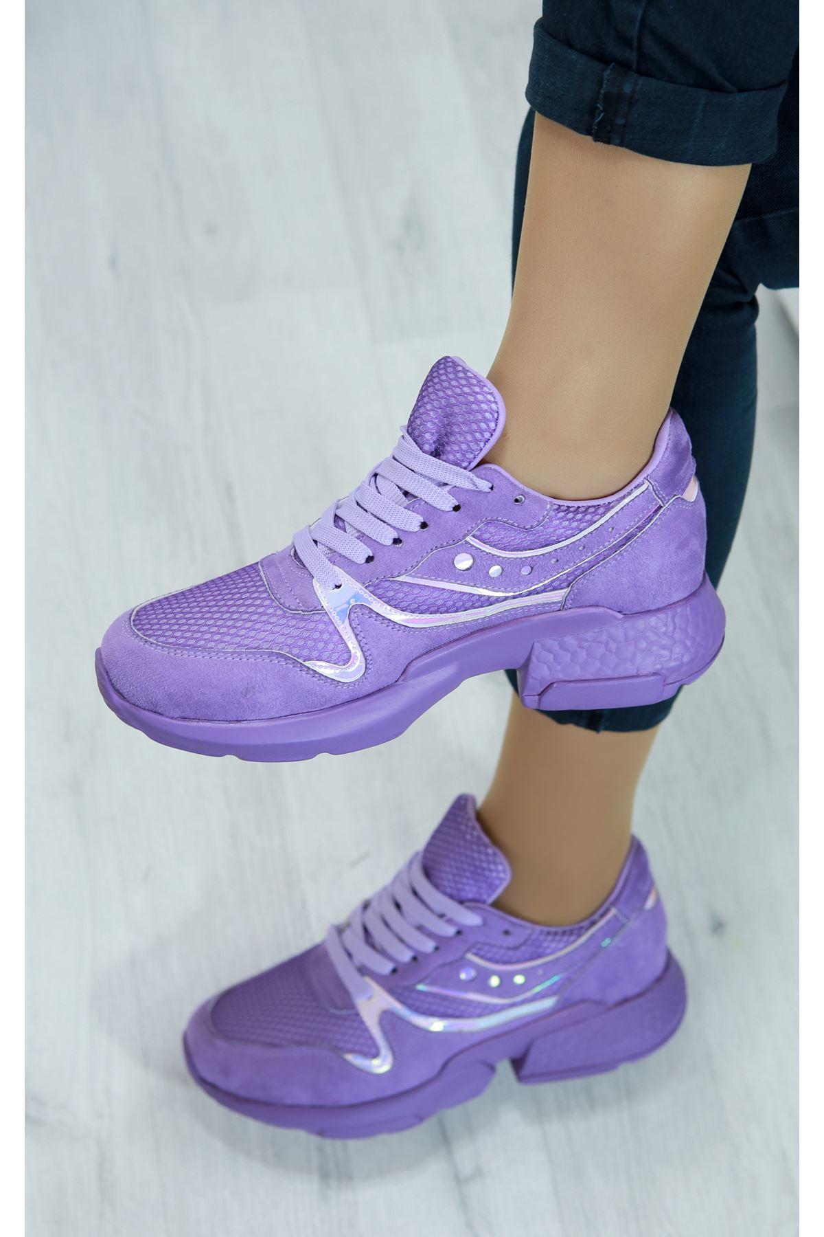 Marzo Mor Lame İthal Süet Bayan Spor Ayakkabı