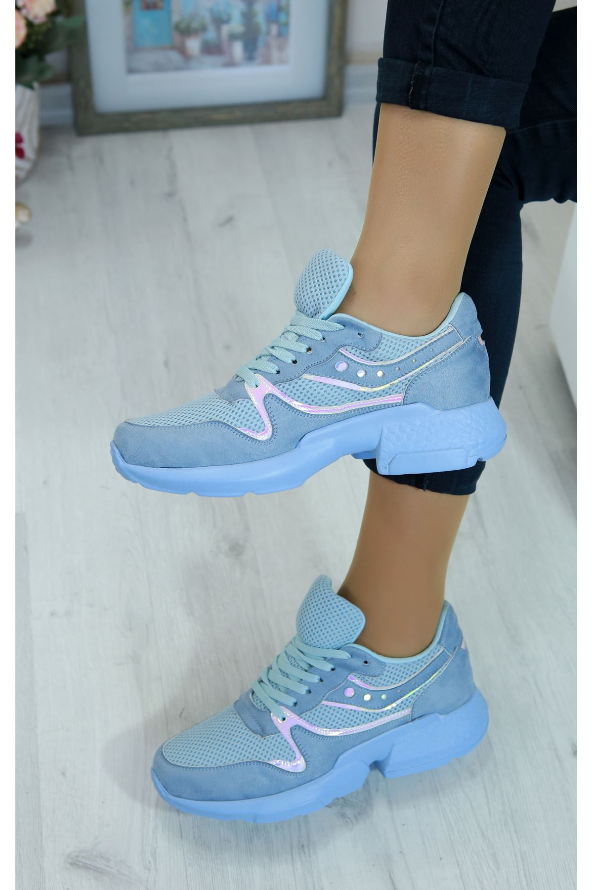 Marzo Bebe Mavi Lame İthal Süet Bayan Spor Ayakkabı