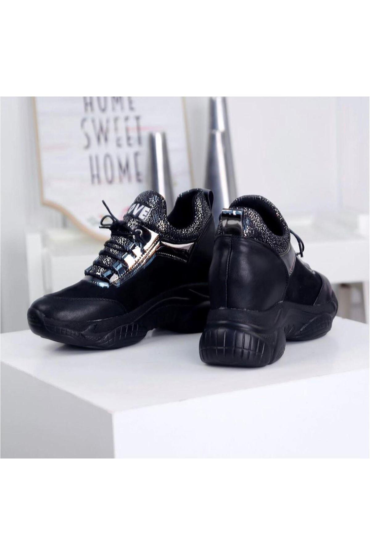 Rota Siyah Gizli Topuk Bayan Spor Ayakkabı