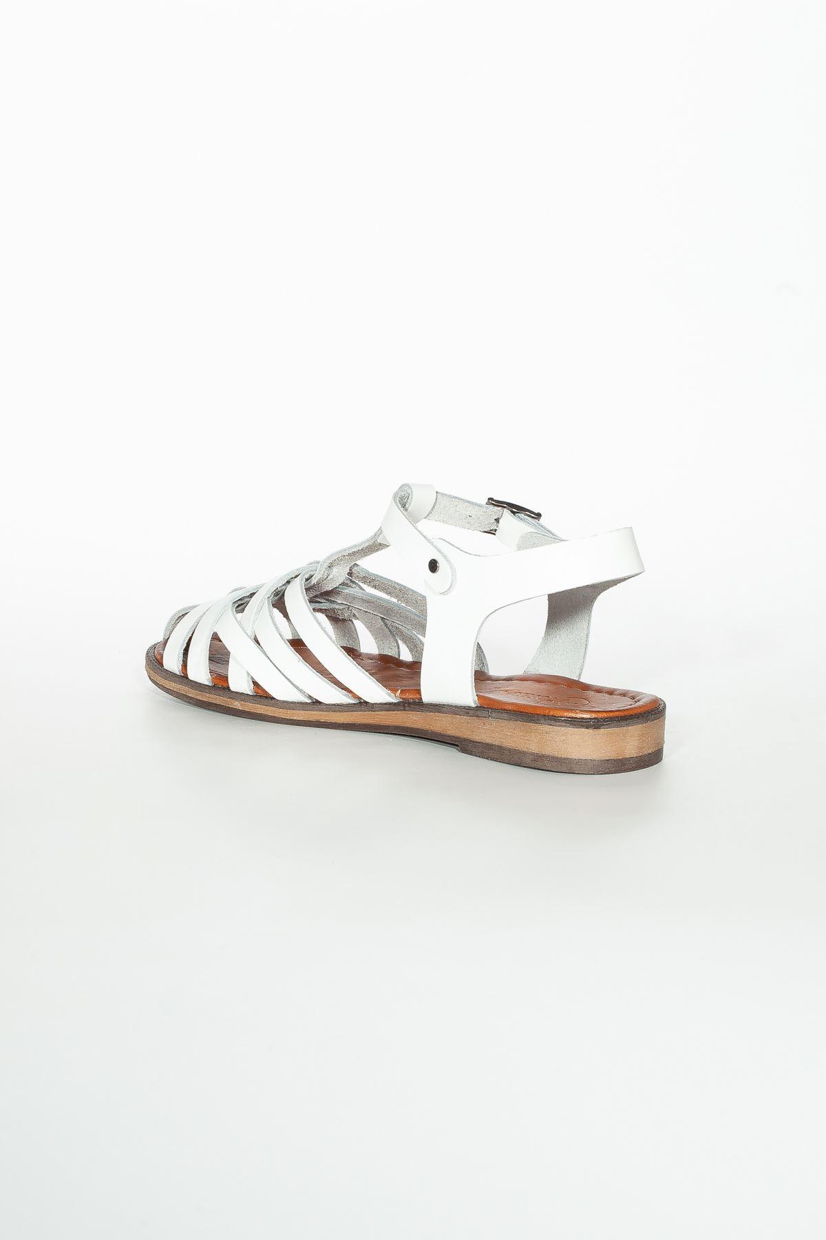 Rabee RT3081 Beyaz  Bayan Hakiki Deri Sandalet