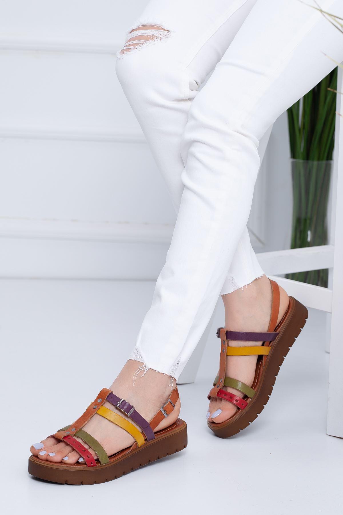 Runee RT3111 Multi  Bayan Hakiki Deri Sandalet