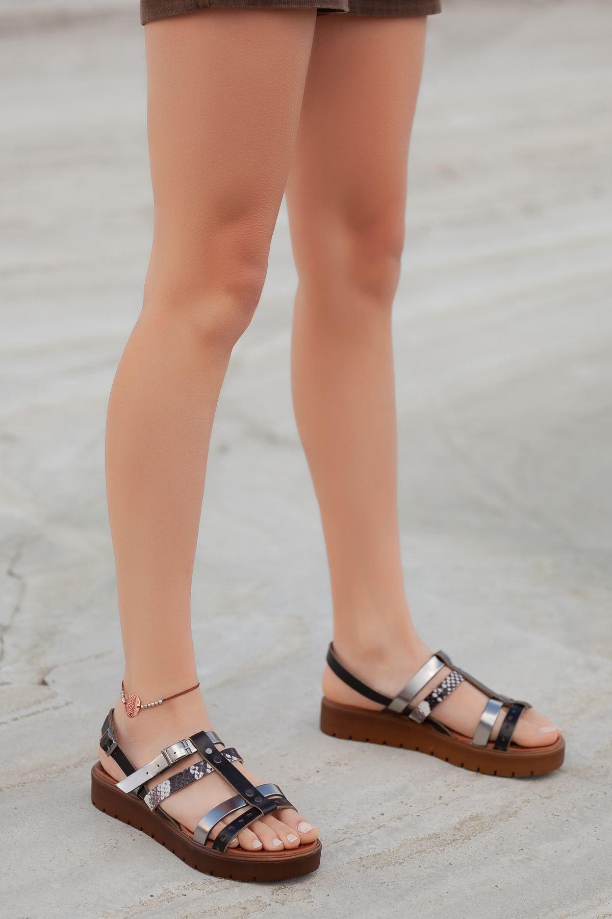 Runee RT3111 Siyah Lame Bayan Hakiki Deri Sandalet