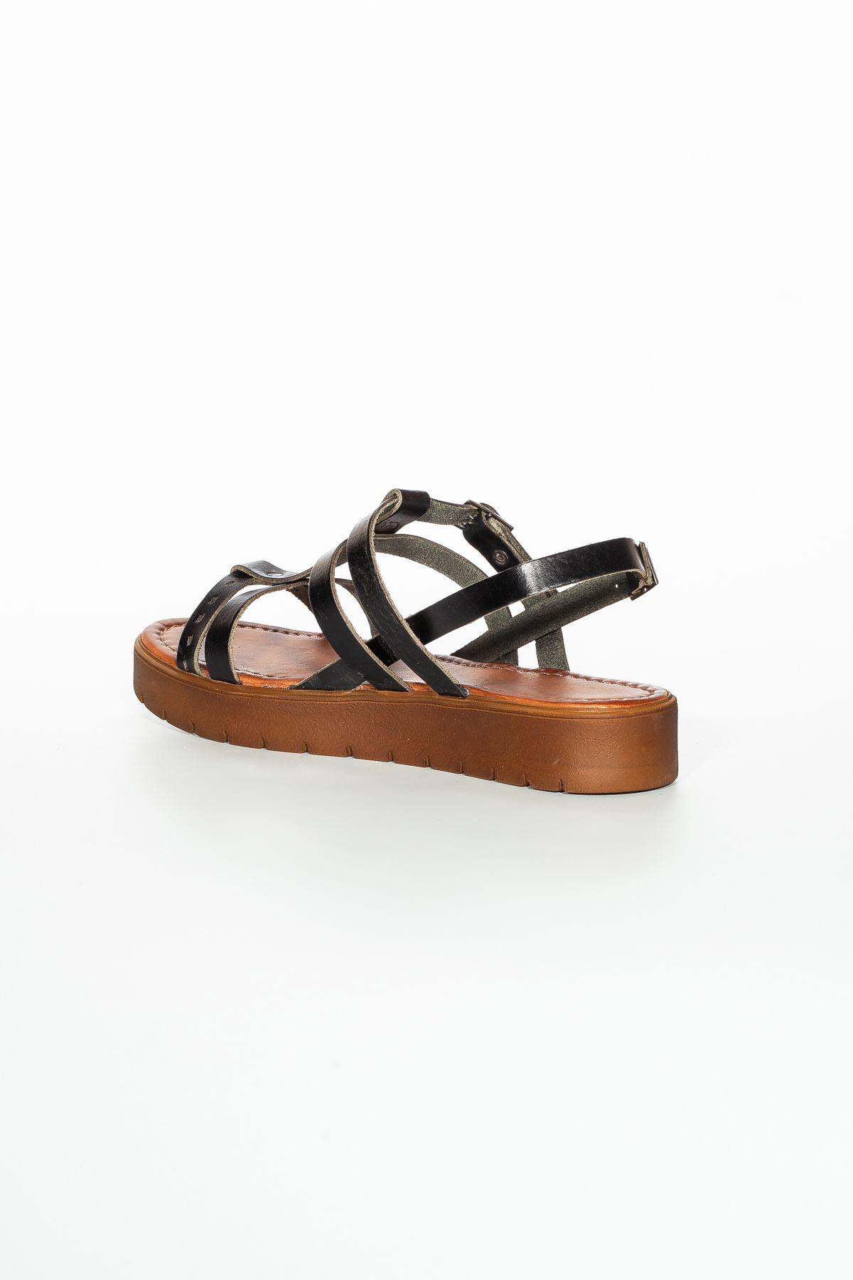 Runee RT3111 Siyah Bayan Hakiki Deri Sandalet