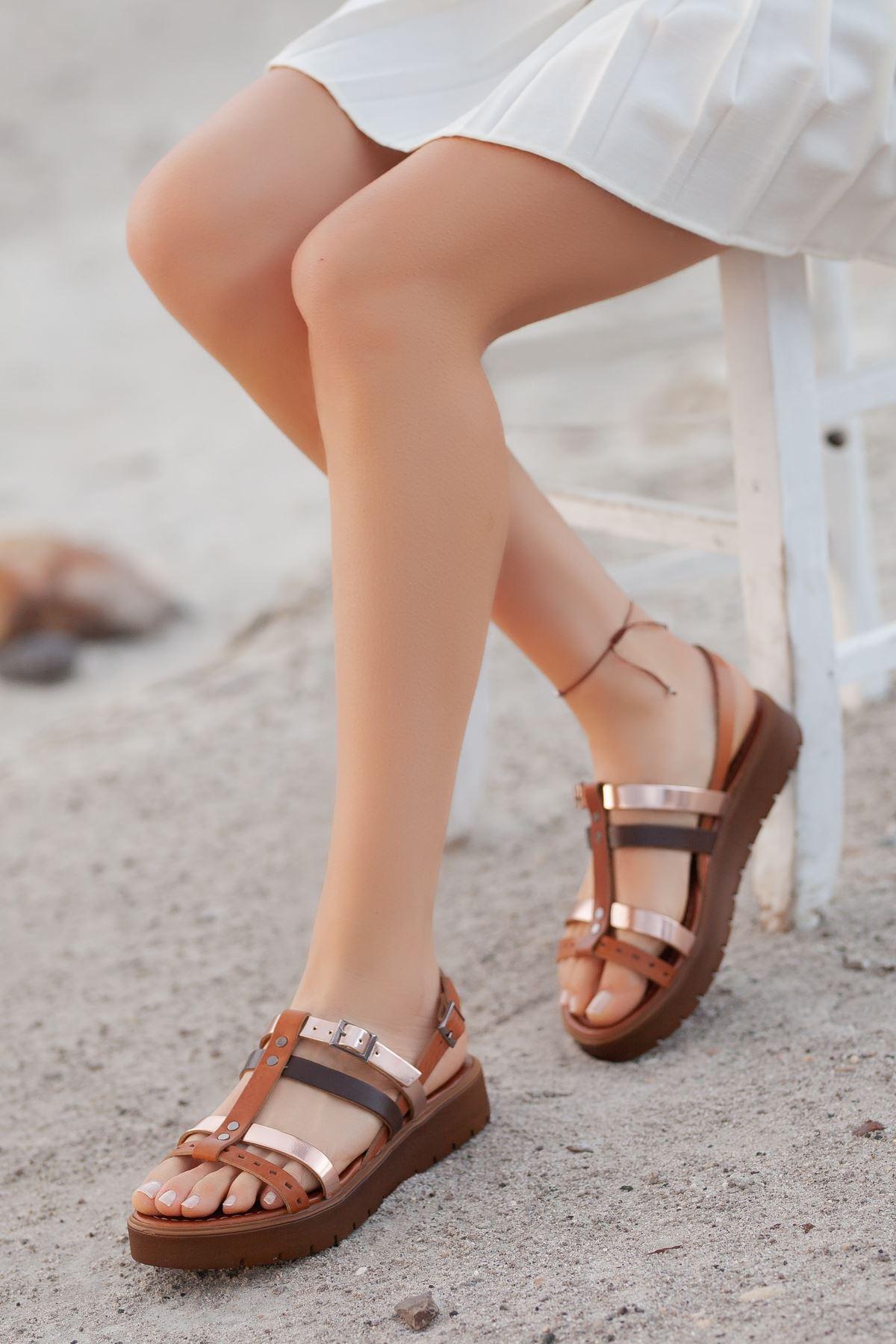 Runee RT3111 Taba Rose Bayan Hakiki Deri Sandalet
