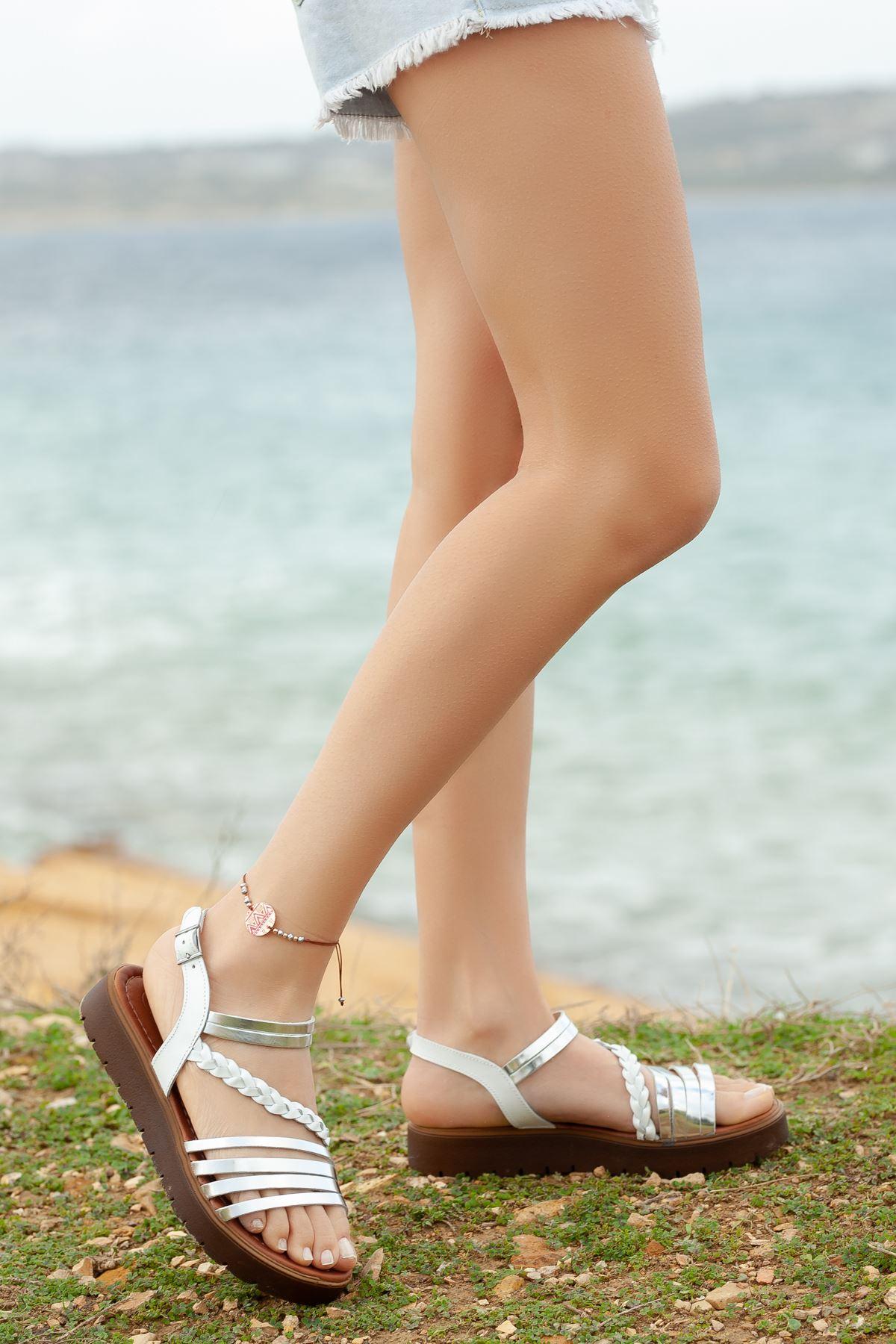 Şewin RT3130 Beyaz Lame Bayan Hakiki Deri Sandalet