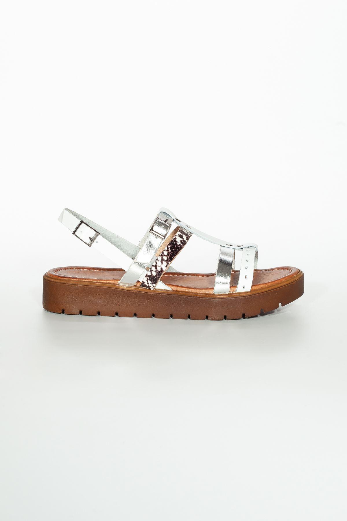 Runee RT3111 Beyaz Bayan Hakiki Deri Sandalet