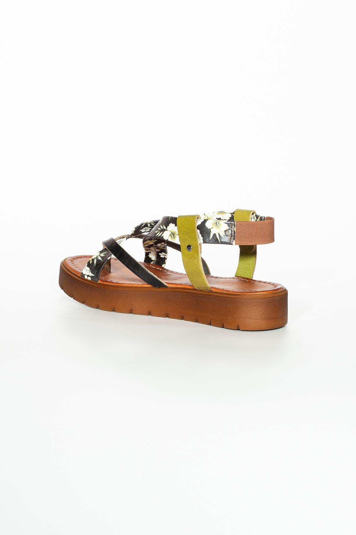 Deyre Hakiki Deri Siyah Yeşil Çiçekli Kadın Sandalet RT-3166