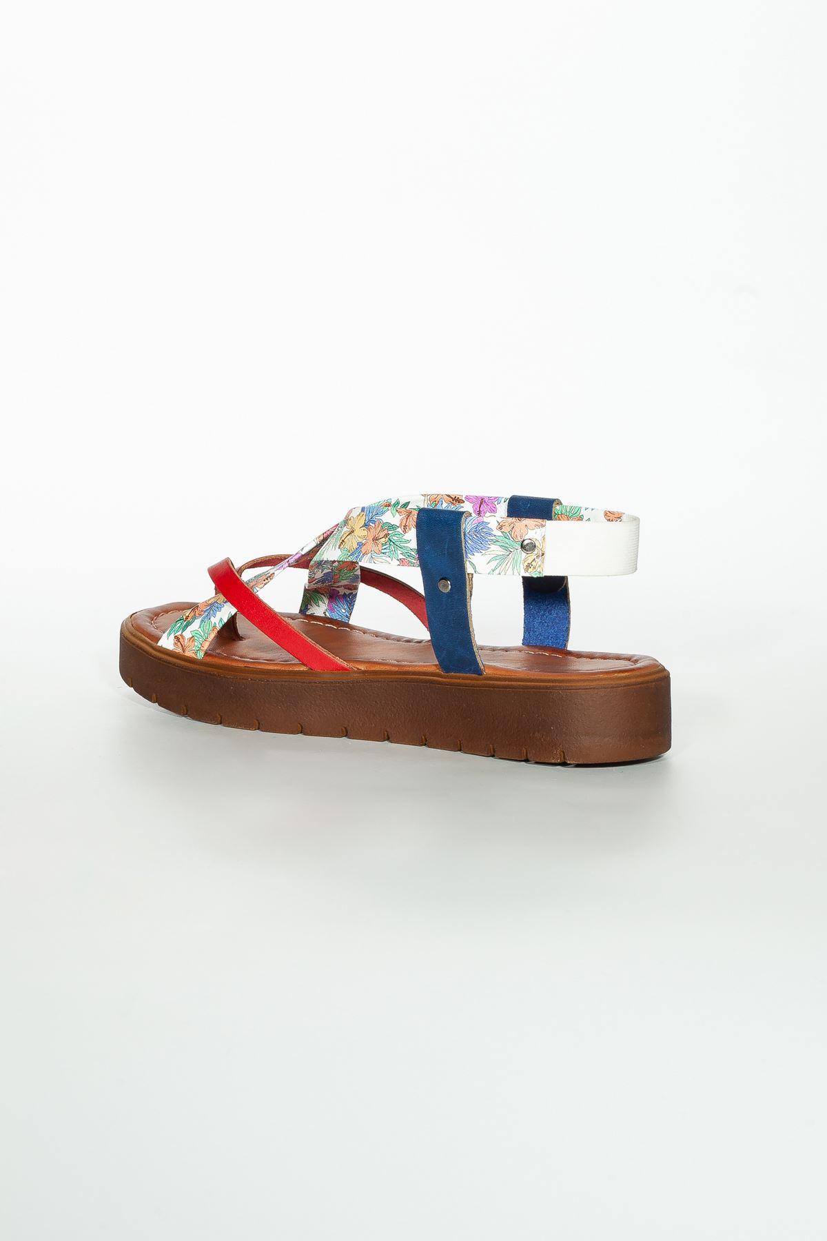 Deyre Hakiki Deri Kırmızı Beyaz Çiçekli Kadın Sandalet