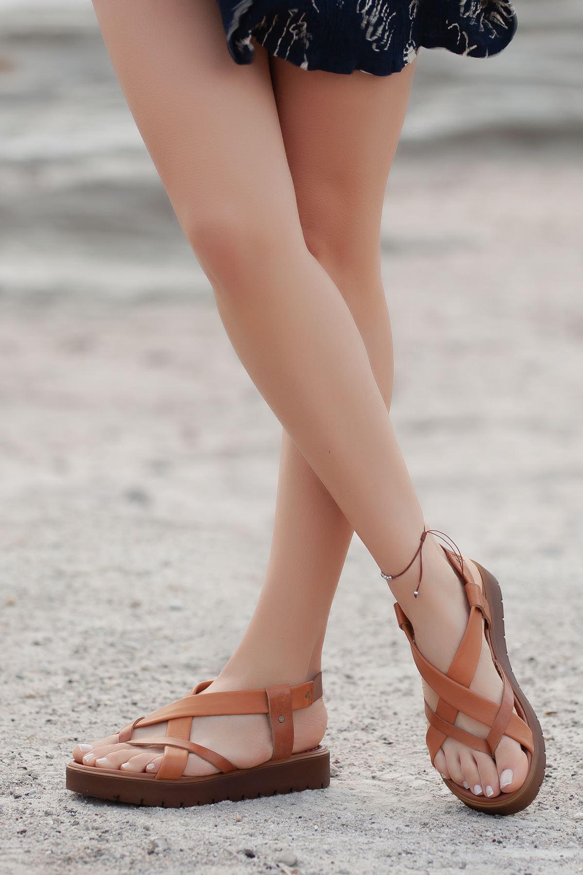 Deyre Hakiki Deri Taba Kadın Sandalet