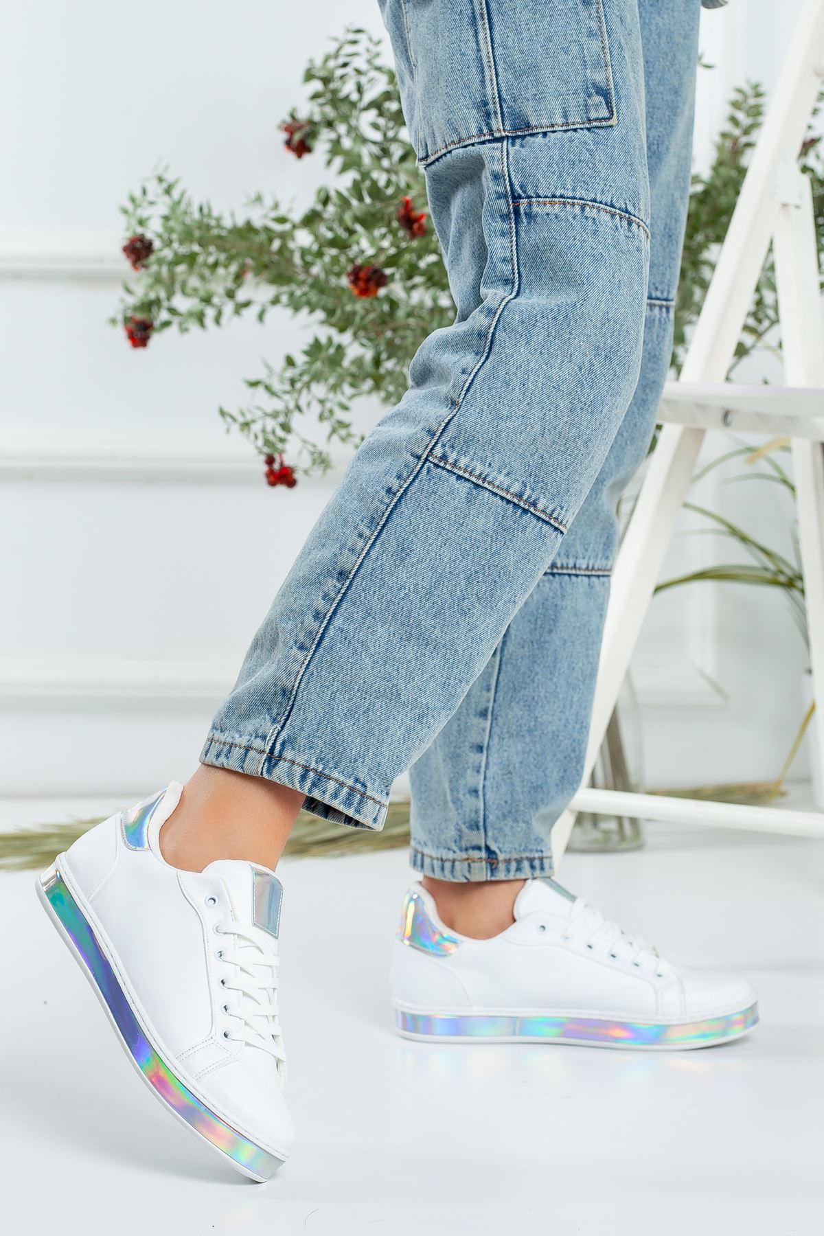 Aşti Beyaz Aynalı Ortapedik Kadın Spor Ayakkabı