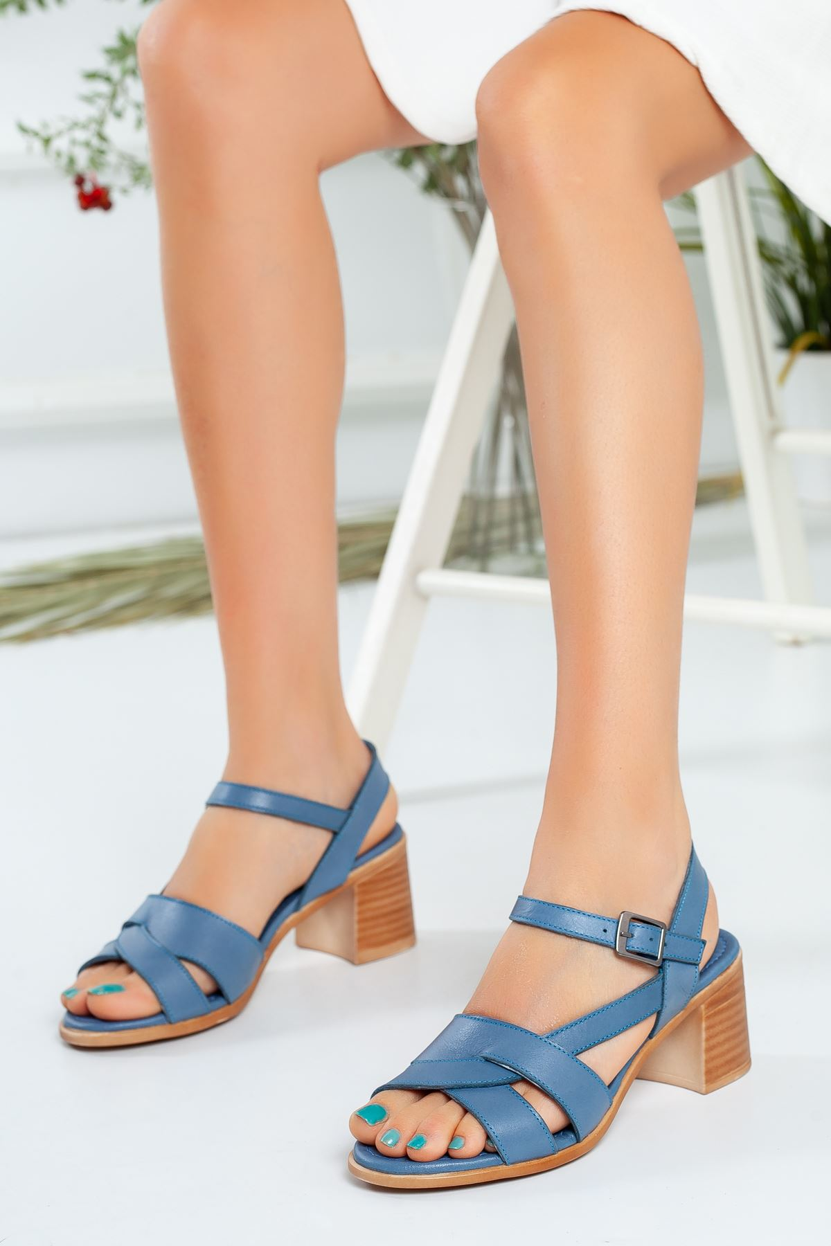 Ewin Mavi Hakiki Deri Bayan Ayakkabı