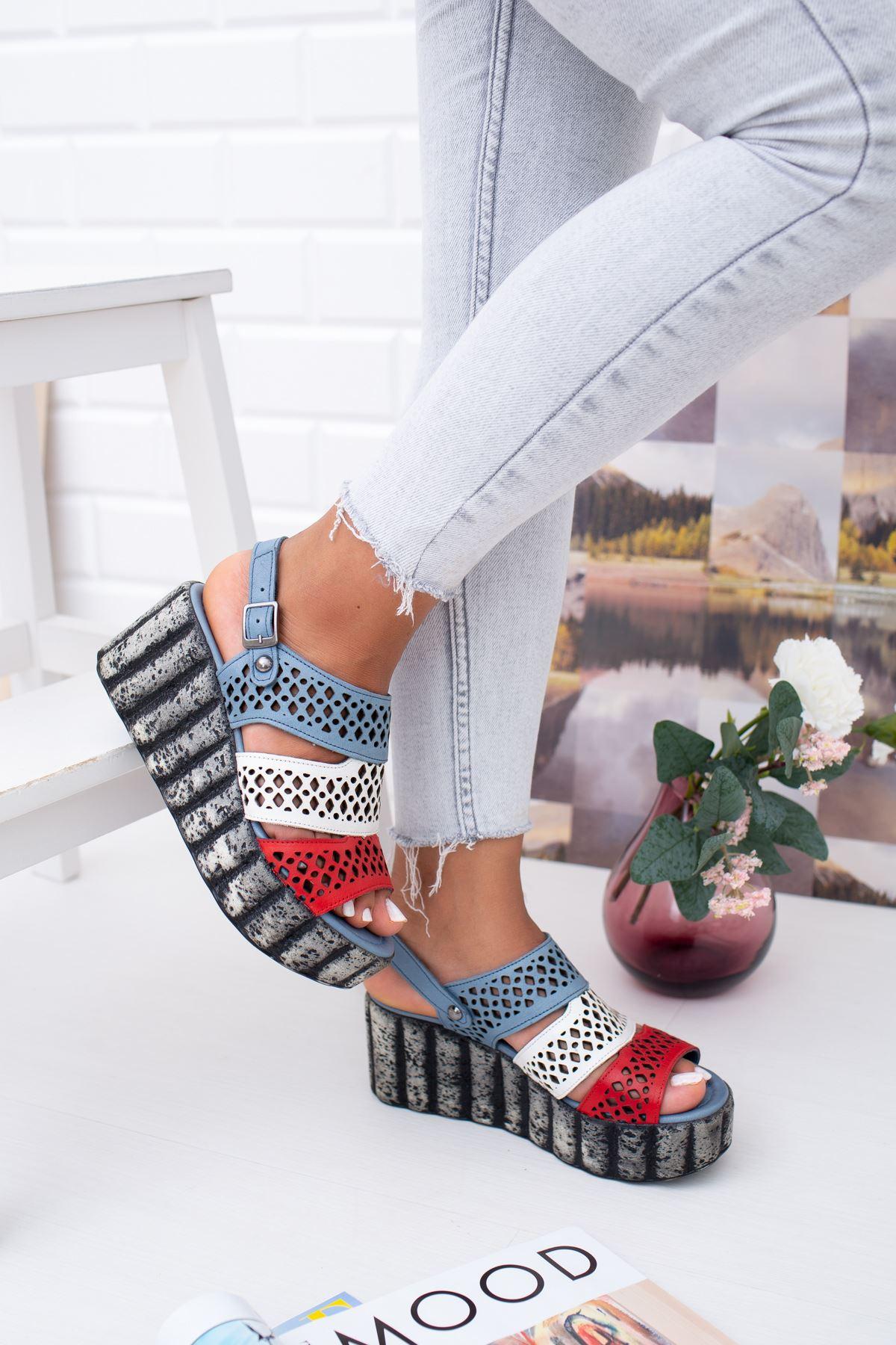 Hakiki Deri Mood Mavi Beyaz Kırmızı Dolgu Topuk Sandalet