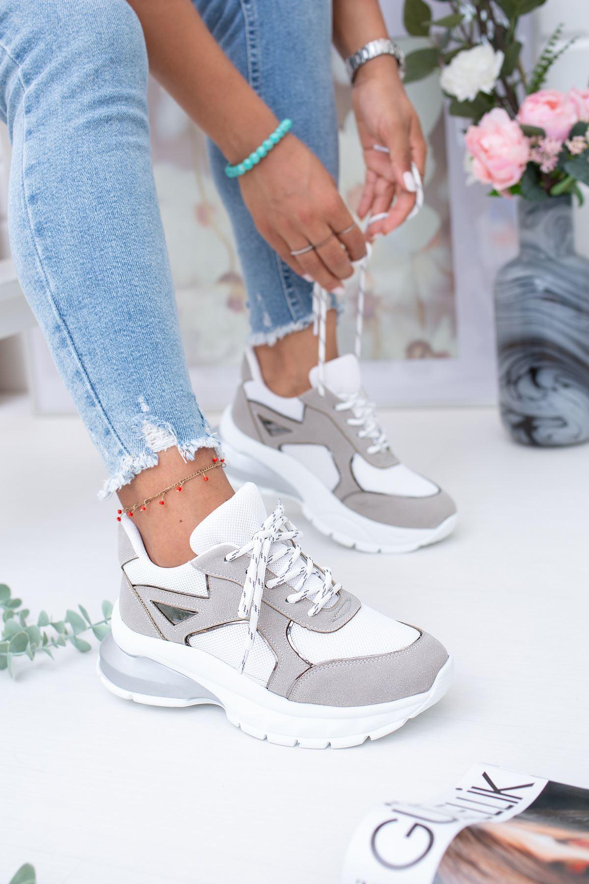 Lezan Ortapedik Beyaz Gri  Spor Ayakkabı