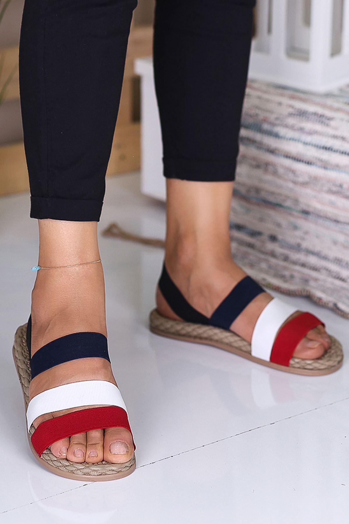 Sandey Lacivert Beyaz Kırmızı  Sandalet Mdn-002