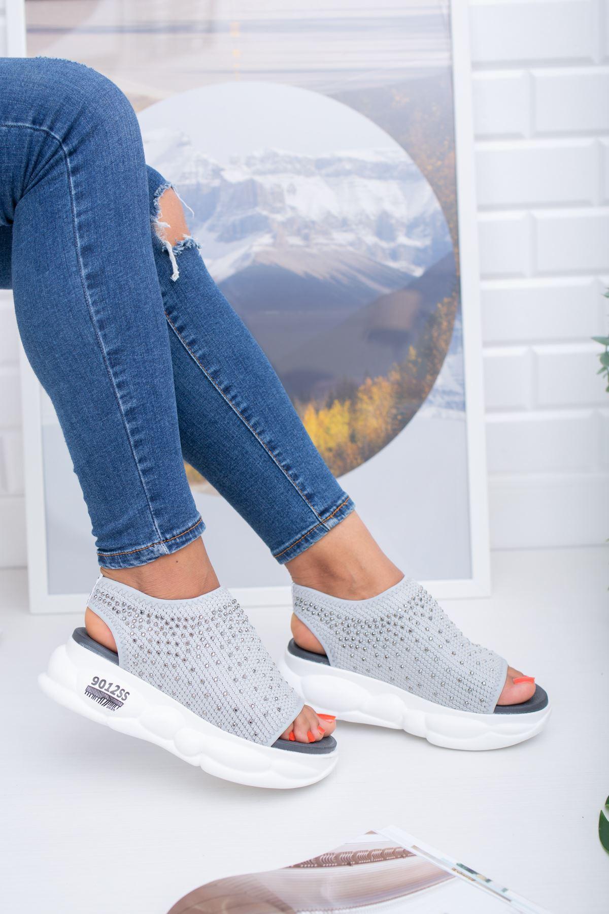 Dido Gri Triko Bayan Spor Ayakkabı